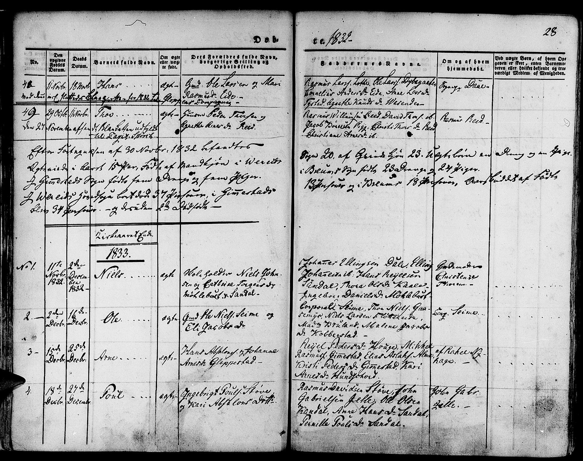 SAB, Gloppen Sokneprestembete, H/Haa/Haaa/L0007: Ministerialbok nr. A 7, 1827-1837, s. 28