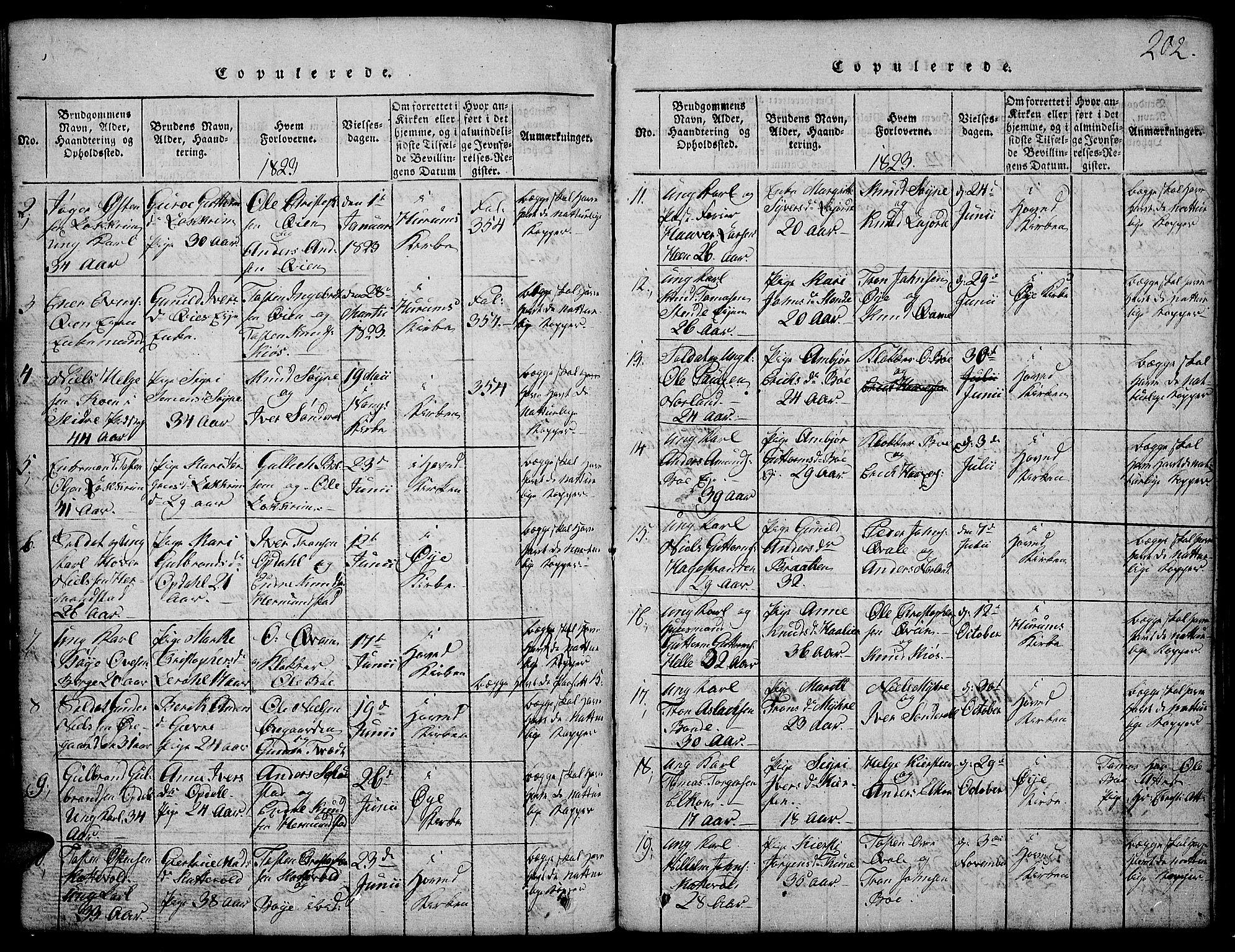 SAH, Vang prestekontor, Valdres, Klokkerbok nr. 2, 1814-1889, s. 202