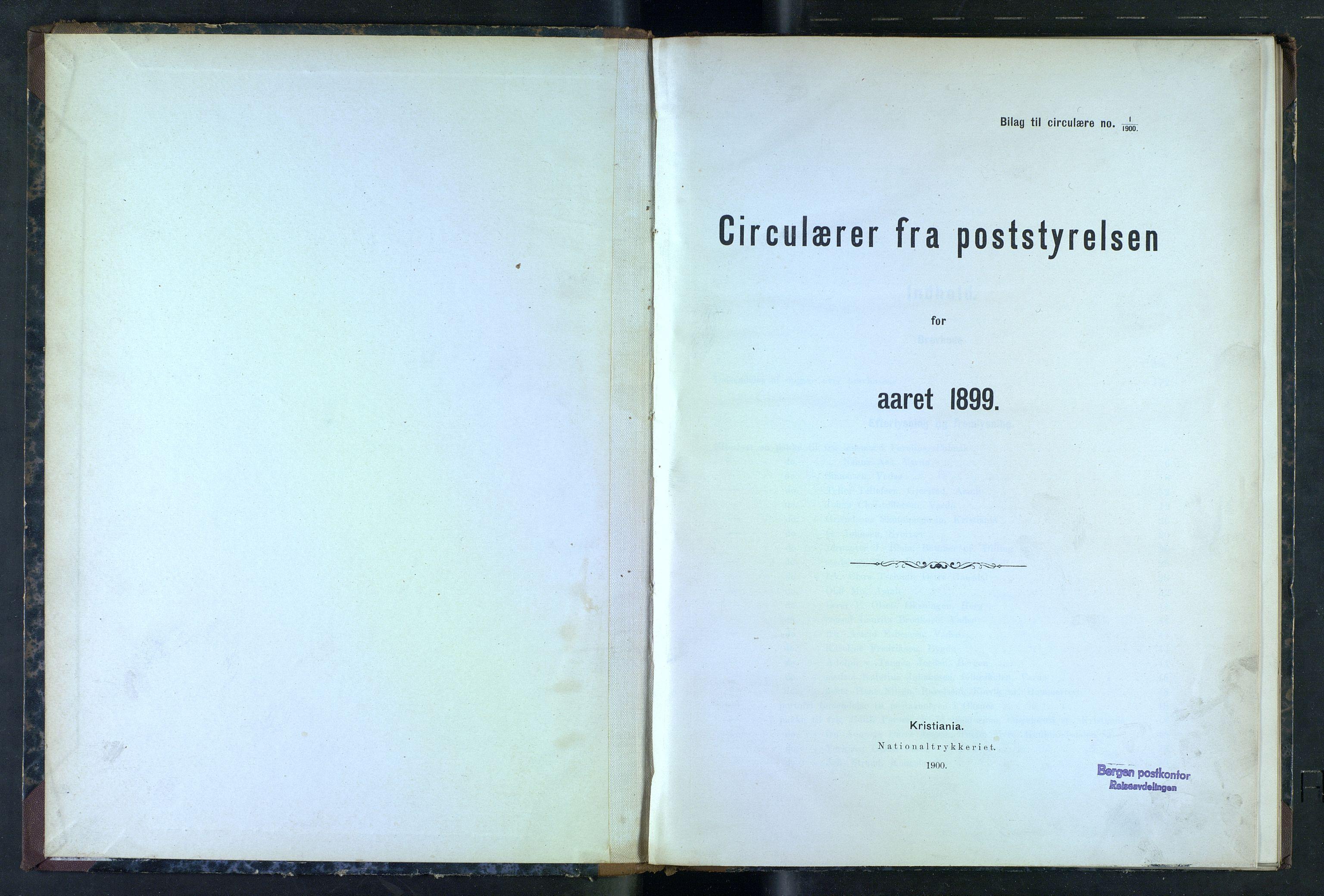 NOPO, Norges Postmuseums bibliotek, -/-: Sirkulærer fra Poststyrelsen, 1899