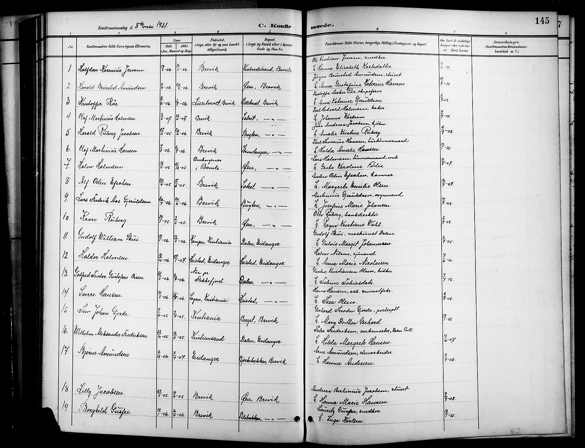 SAKO, Brevik kirkebøker, G/Ga/L0005: Klokkerbok nr. 5, 1901-1924, s. 145