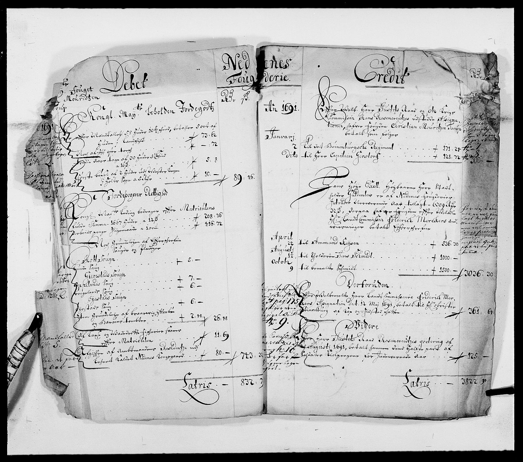 RA, Rentekammeret inntil 1814, Reviderte regnskaper, Fogderegnskap, R39/L2310: Fogderegnskap Nedenes, 1690-1692, s. 11