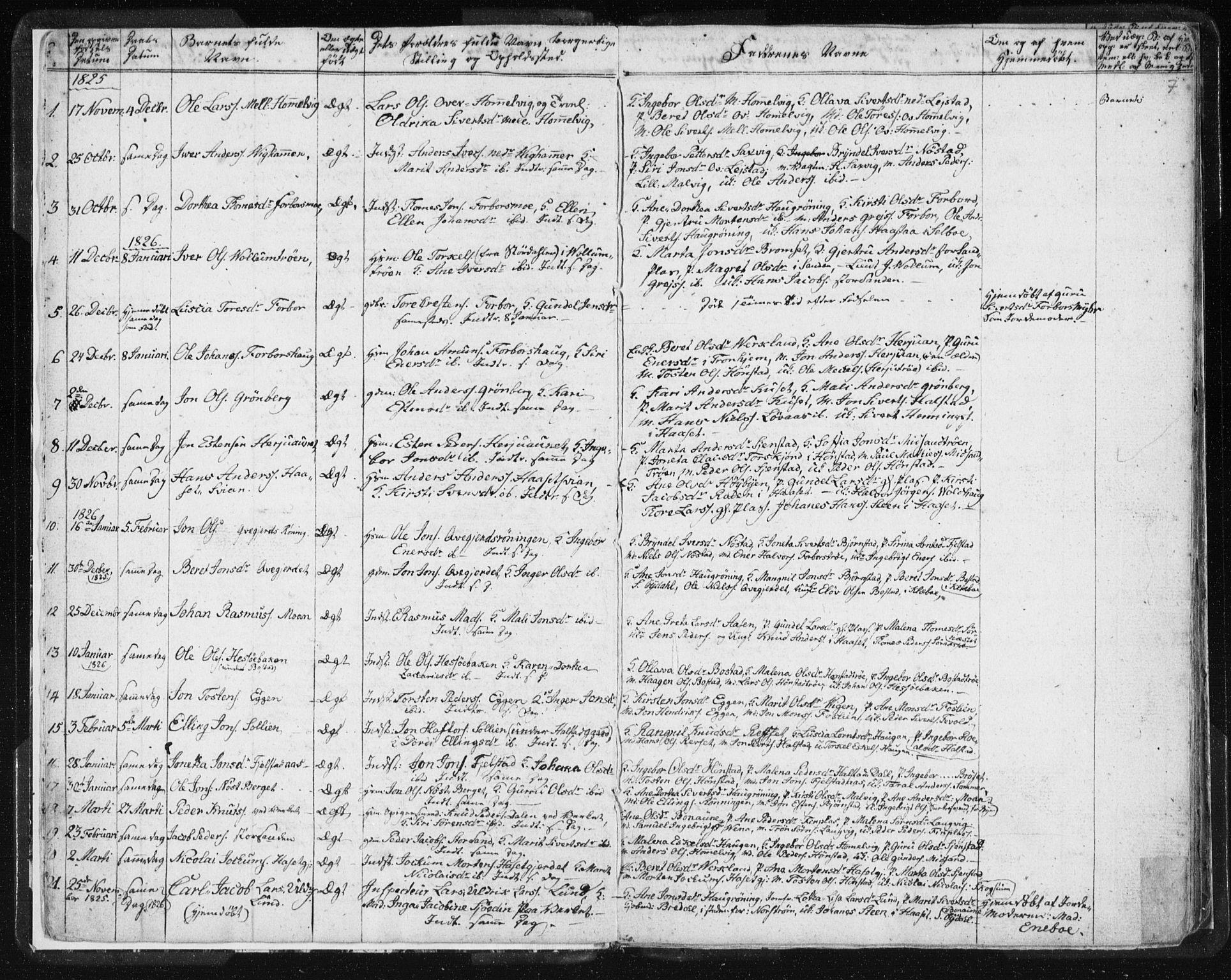 SAT, Ministerialprotokoller, klokkerbøker og fødselsregistre - Sør-Trøndelag, 616/L0404: Ministerialbok nr. 616A01, 1823-1831, s. 7