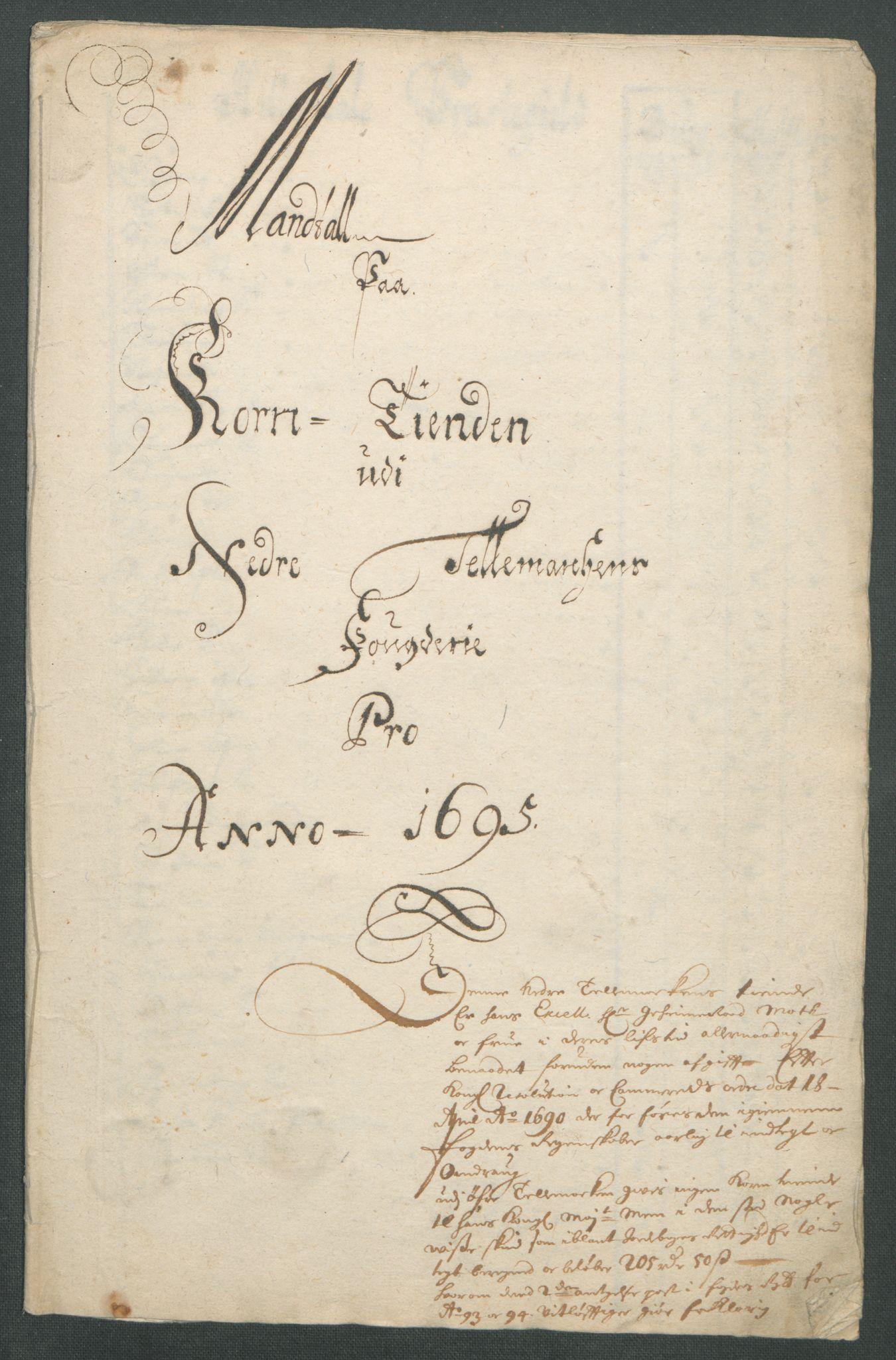 RA, Rentekammeret inntil 1814, Reviderte regnskaper, Fogderegnskap, R36/L2093: Fogderegnskap Øvre og Nedre Telemark og Bamble, 1695, s. 39