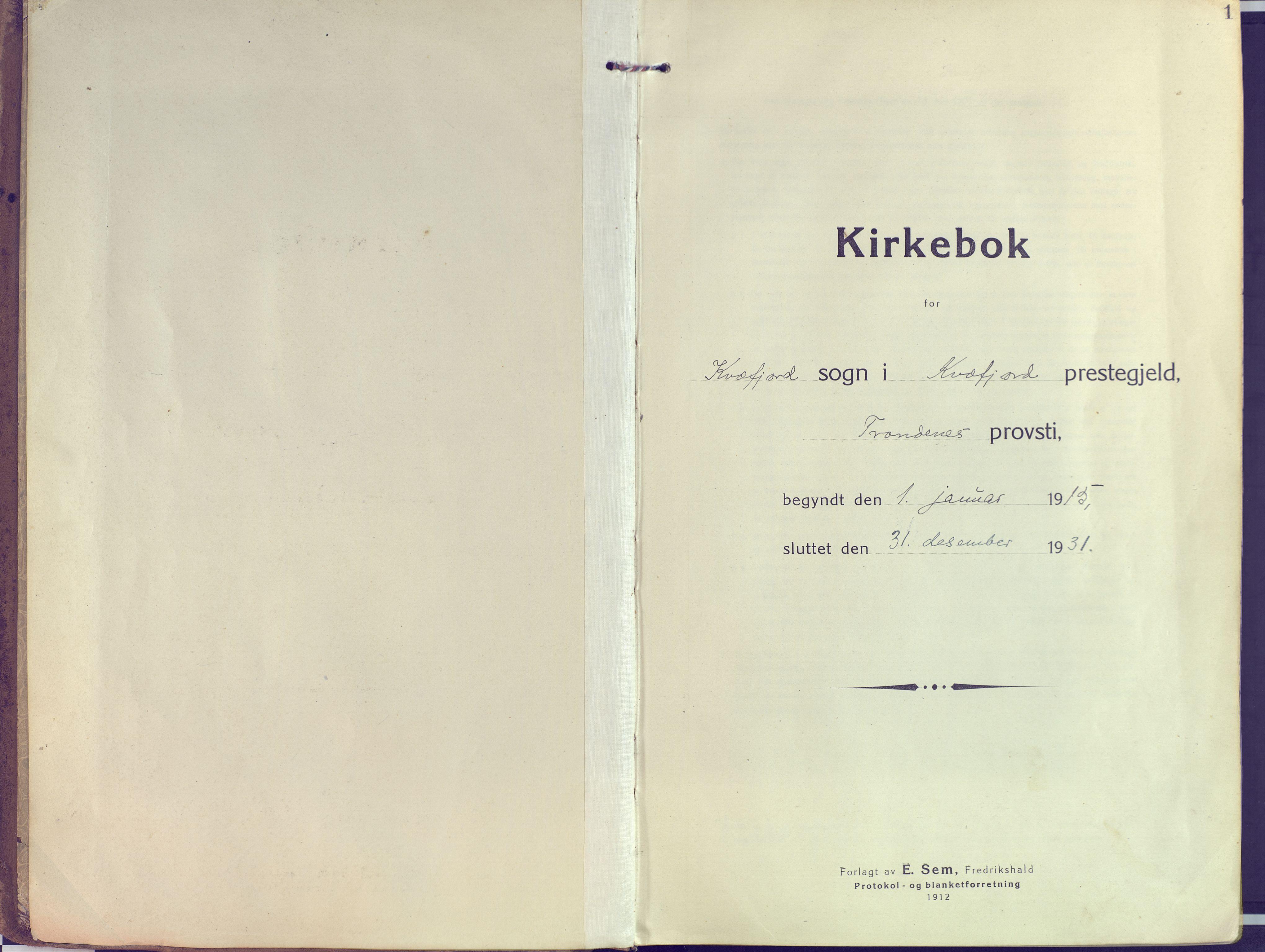 SATØ, Kvæfjord sokneprestkontor, G/Ga/Gaa/L0007kirke: Ministerialbok nr. 7, 1915-1931, s. 1