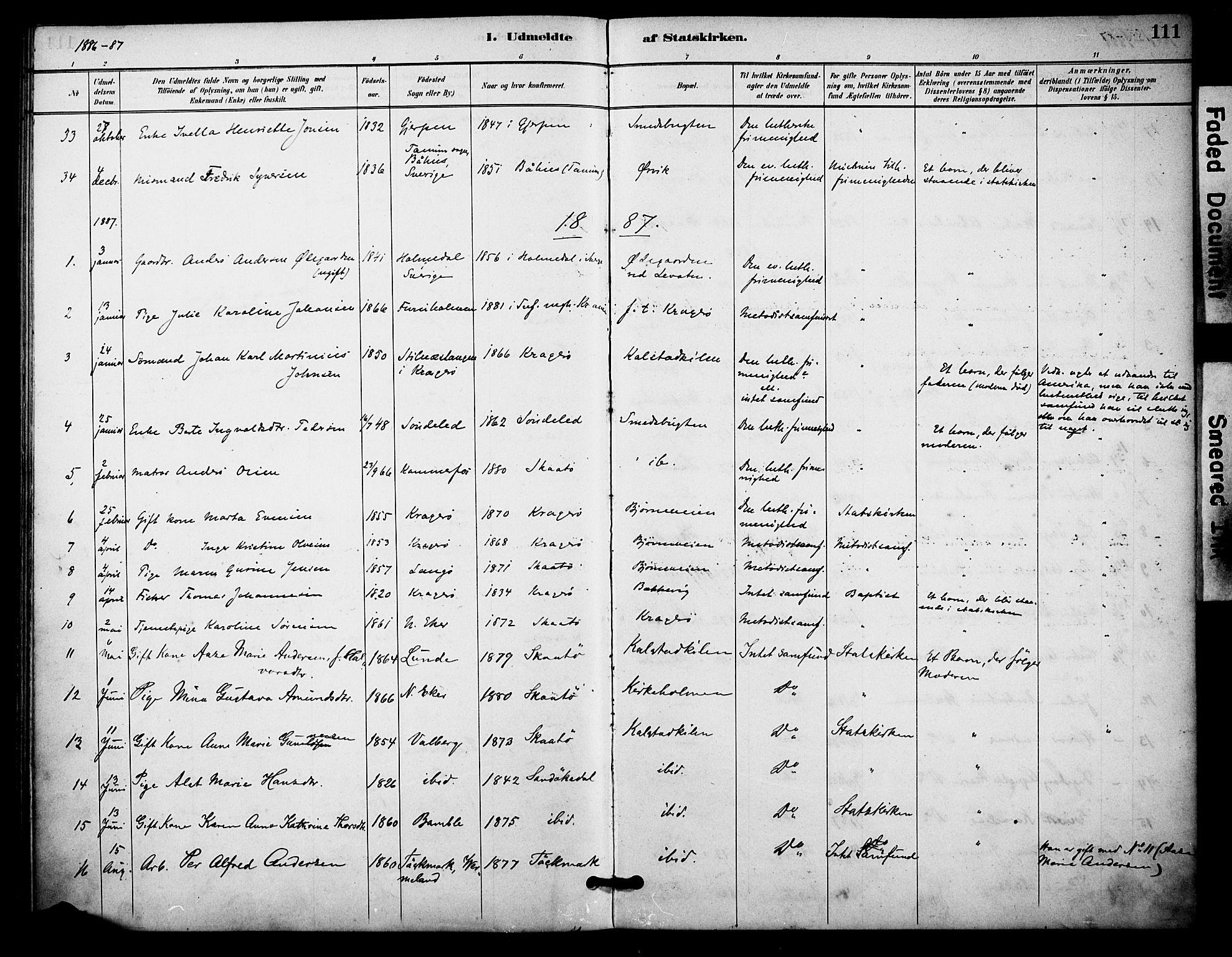 SAKO, Skåtøy kirkebøker, F/Fa/L0004: Ministerialbok nr. I 4, 1884-1900, s. 111