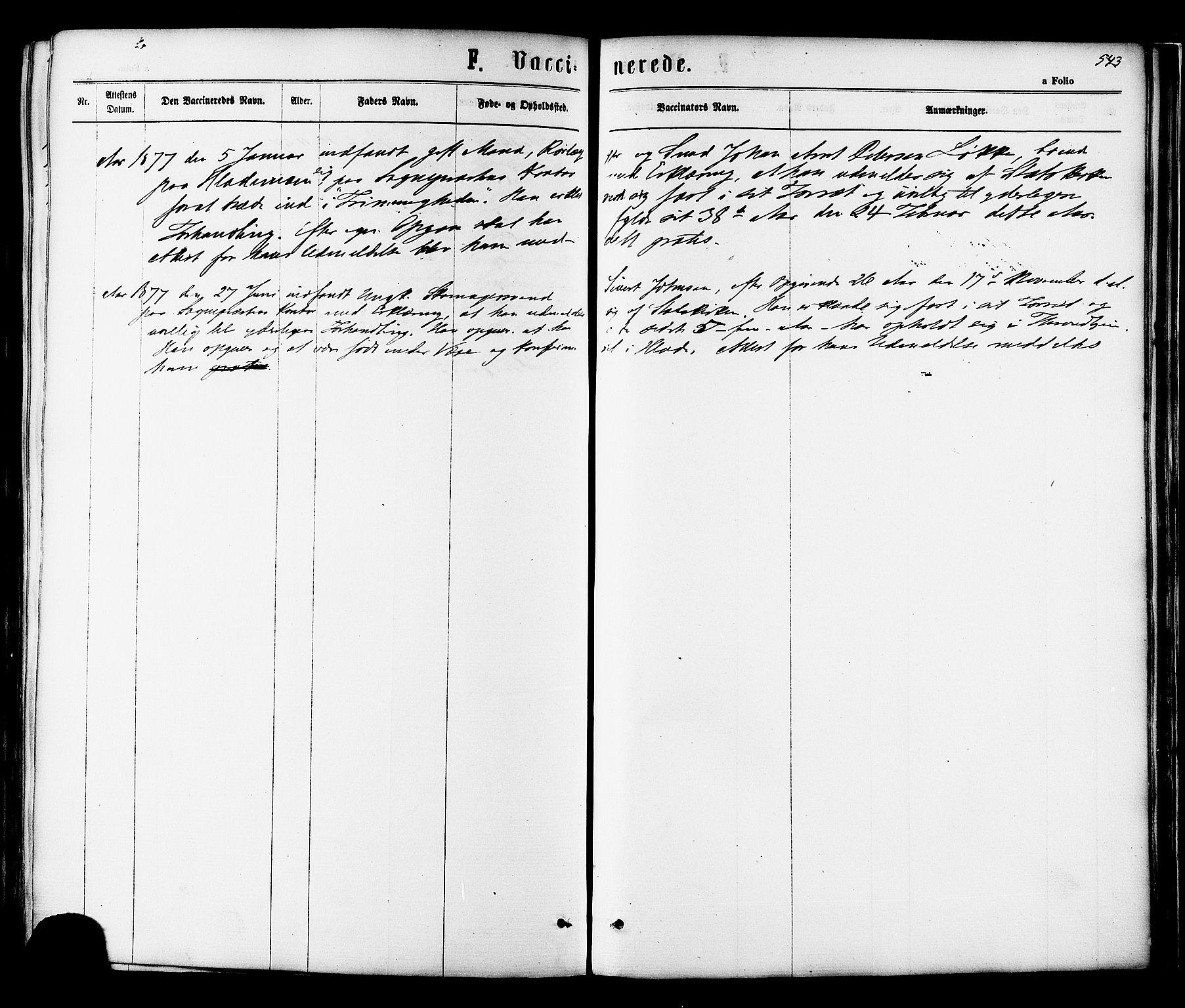 SAT, Ministerialprotokoller, klokkerbøker og fødselsregistre - Sør-Trøndelag, 606/L0293: Ministerialbok nr. 606A08, 1866-1877, s. 543