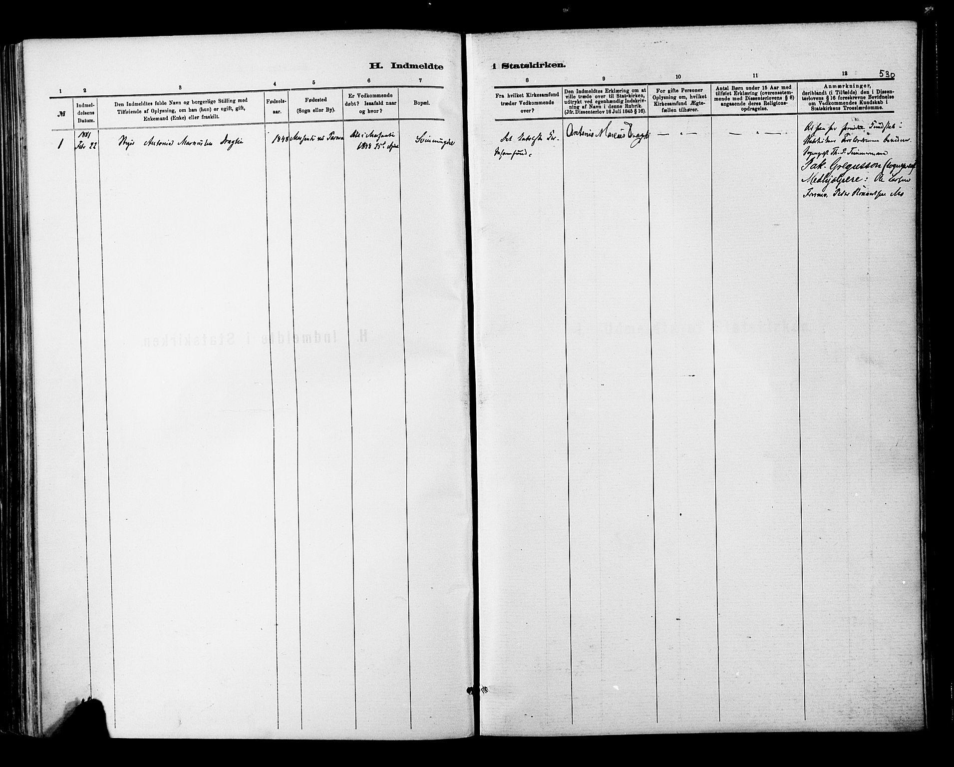 SAT, Ministerialprotokoller, klokkerbøker og fødselsregistre - Nordland, 820/L0295: Ministerialbok nr. 820A16, 1880-1896, s. 530