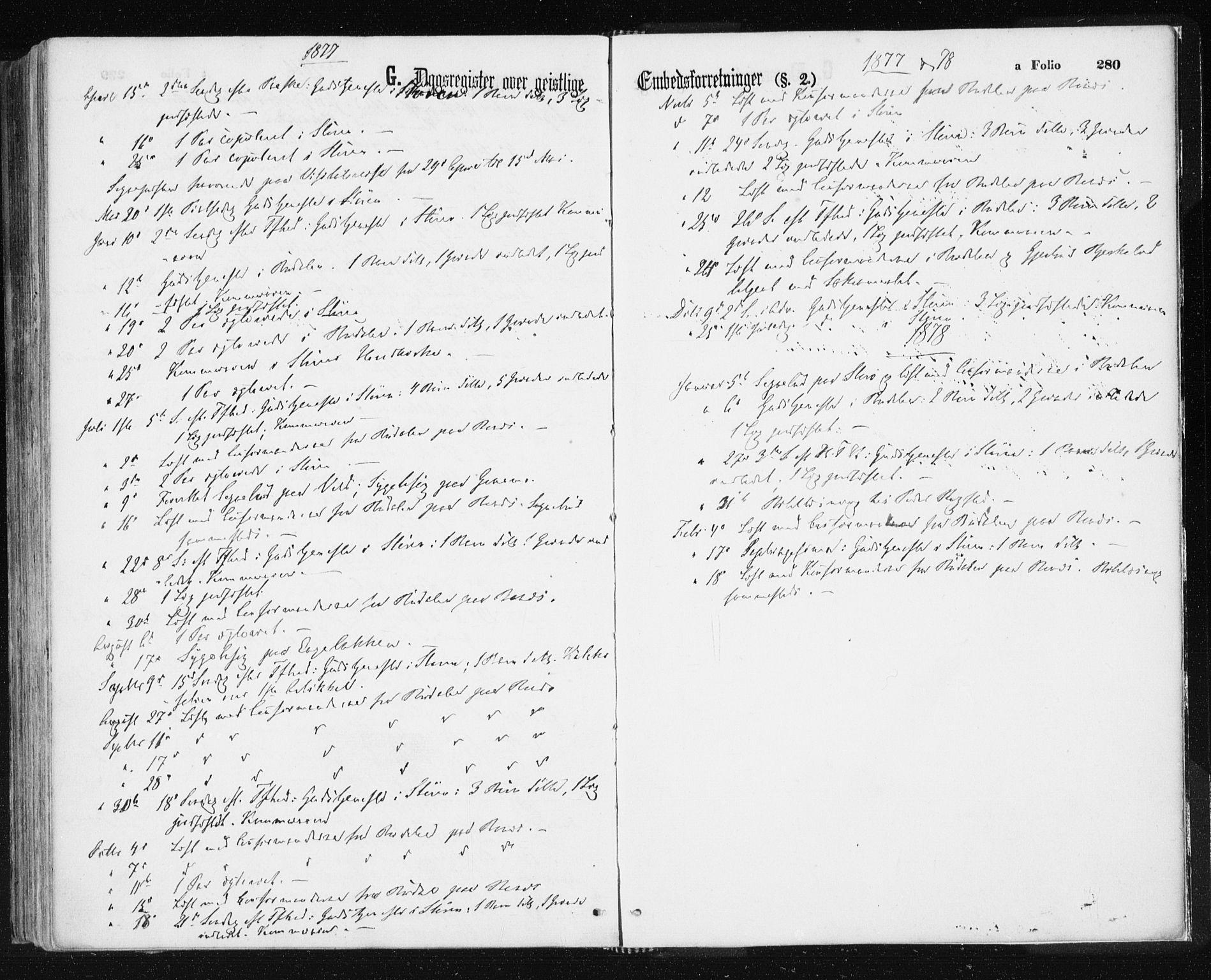 SAT, Ministerialprotokoller, klokkerbøker og fødselsregistre - Sør-Trøndelag, 687/L1001: Ministerialbok nr. 687A07, 1863-1878, s. 280