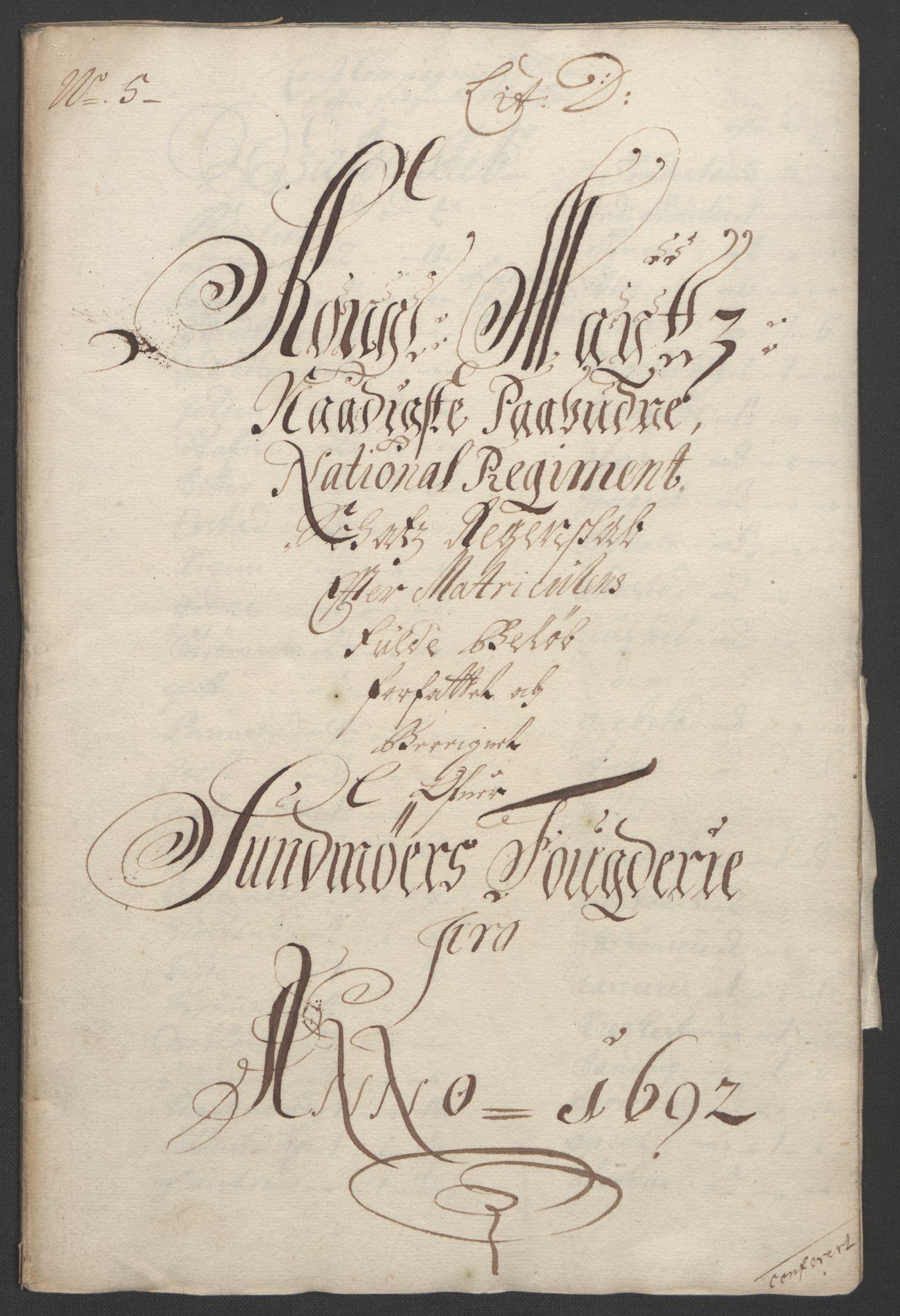 RA, Rentekammeret inntil 1814, Reviderte regnskaper, Fogderegnskap, R54/L3554: Fogderegnskap Sunnmøre, 1691-1693, s. 204