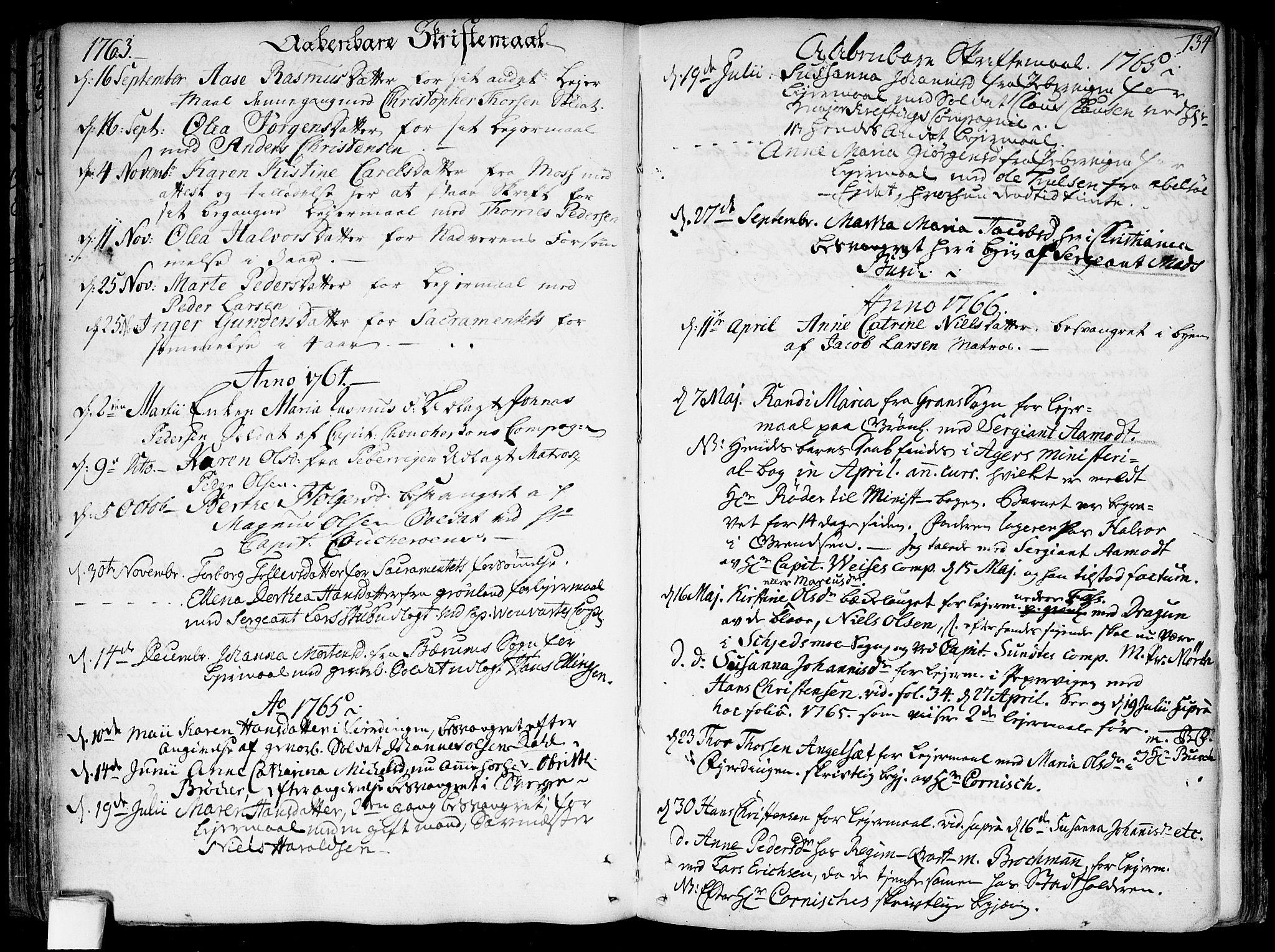 SAO, Garnisonsmenigheten Kirkebøker, F/Fa/L0002: Ministerialbok nr. 2, 1757-1776, s. 134