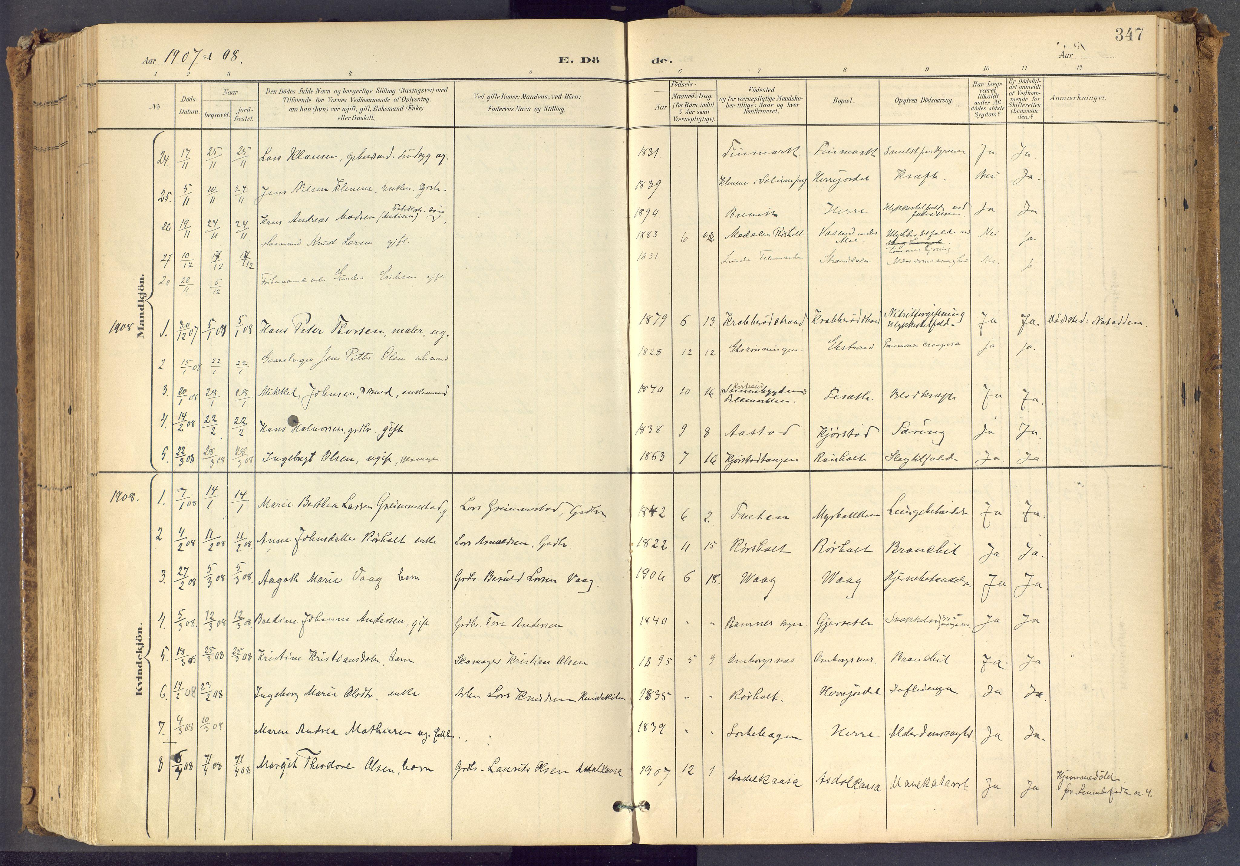 SAKO, Bamble kirkebøker, F/Fa/L0009: Ministerialbok nr. I 9, 1901-1917, s. 347