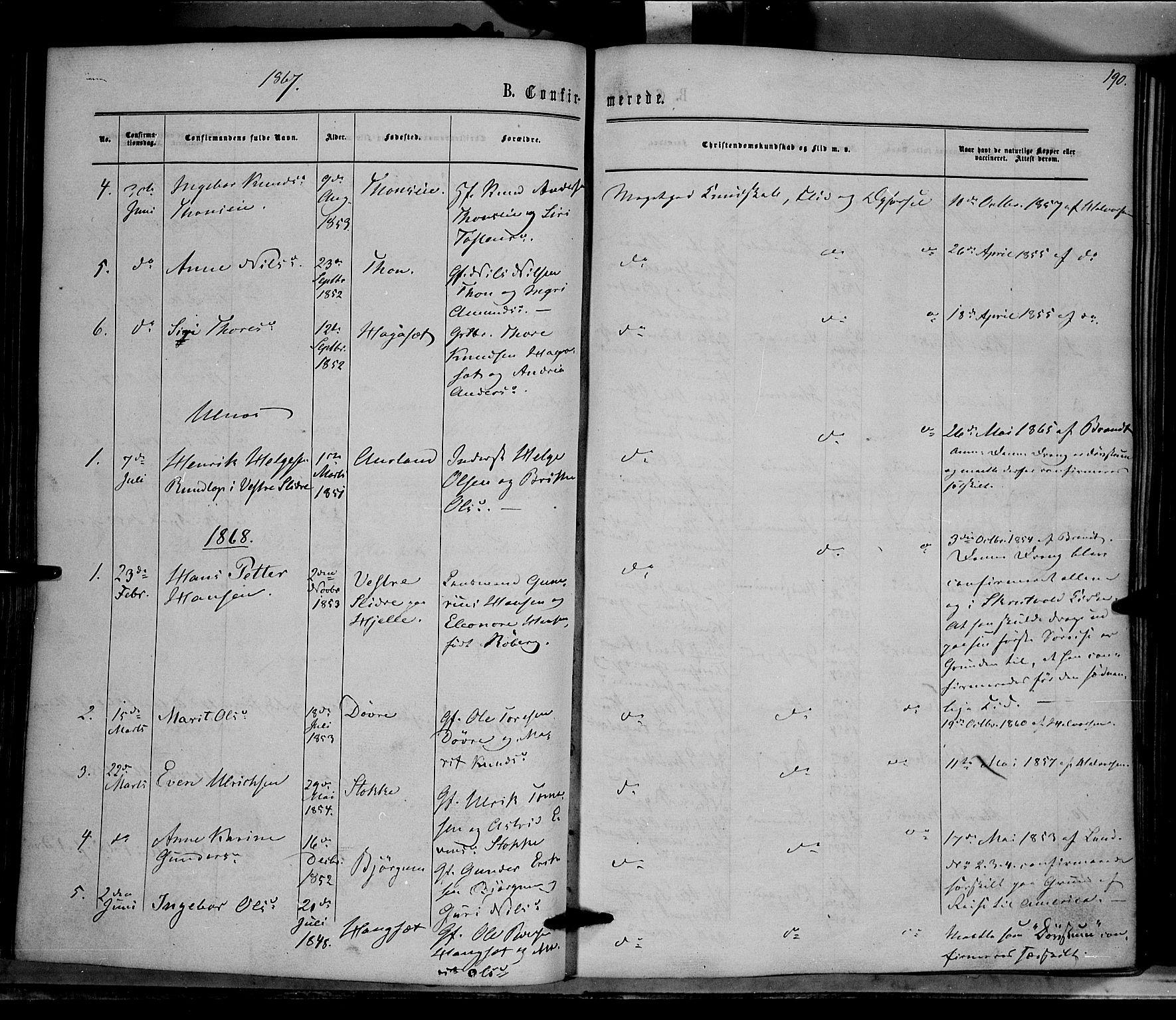 SAH, Nord-Aurdal prestekontor, Ministerialbok nr. 8, 1863-1875, s. 190