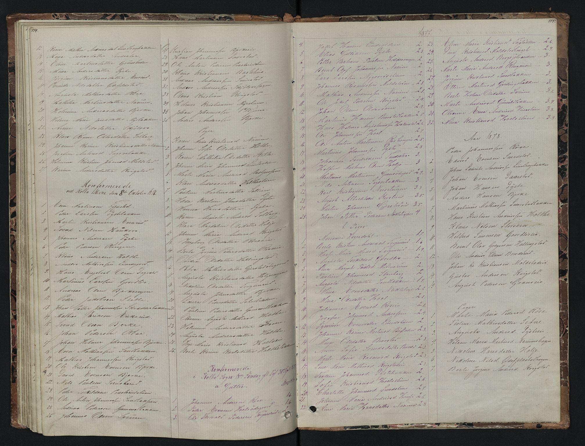 SAH, Vestre Toten prestekontor, H/Ha/Hab/L0007: Klokkerbok nr. 7, 1872-1900, s. 174-175