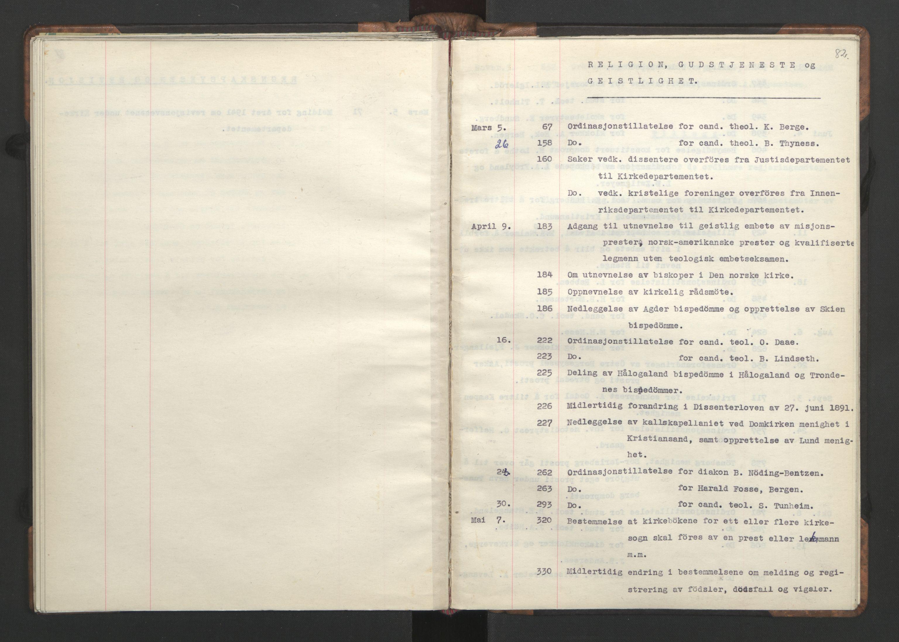 RA, NS-administrasjonen 1940-1945 (Statsrådsekretariatet, de kommisariske statsråder mm), D/Da/L0002: Register (RA j.nr. 985/1943, tilgangsnr. 17/1943), 1942, s. 81b-82a