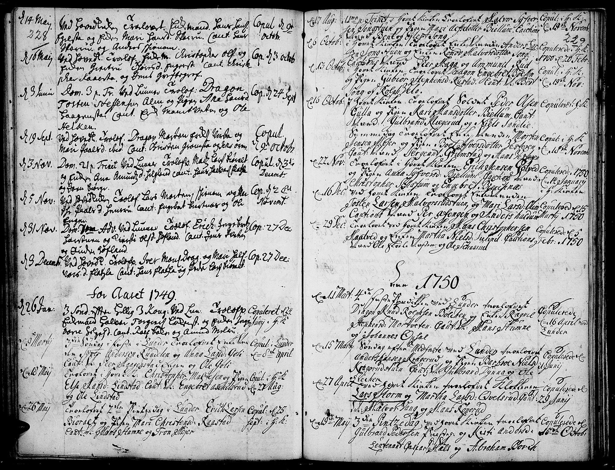 SAH, Jevnaker prestekontor, Ministerialbok nr. 2, 1725-1751, s. 228-229