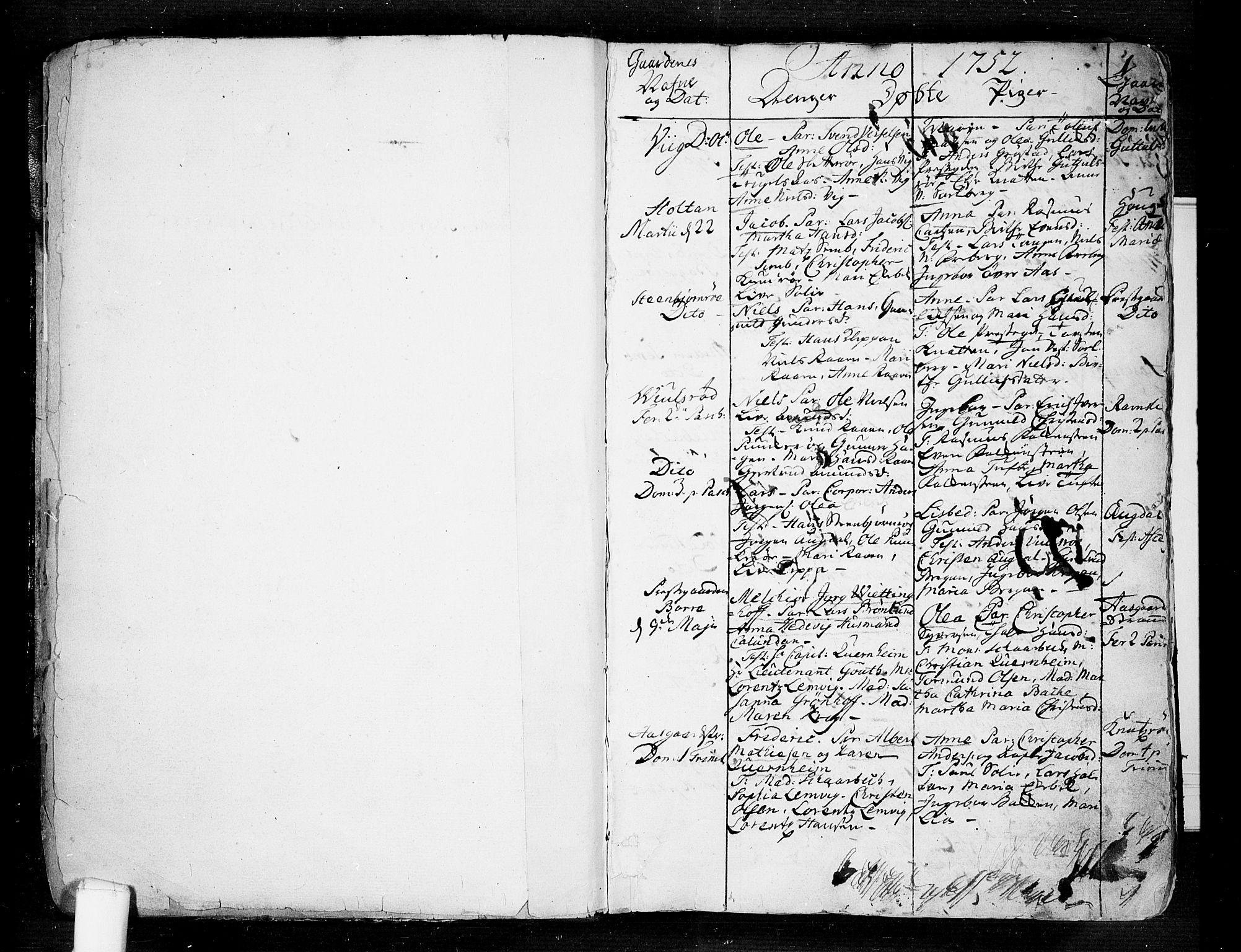 SAKO, Borre kirkebøker, F/Fa/L0002: Ministerialbok nr. I 2, 1752-1806, s. 1