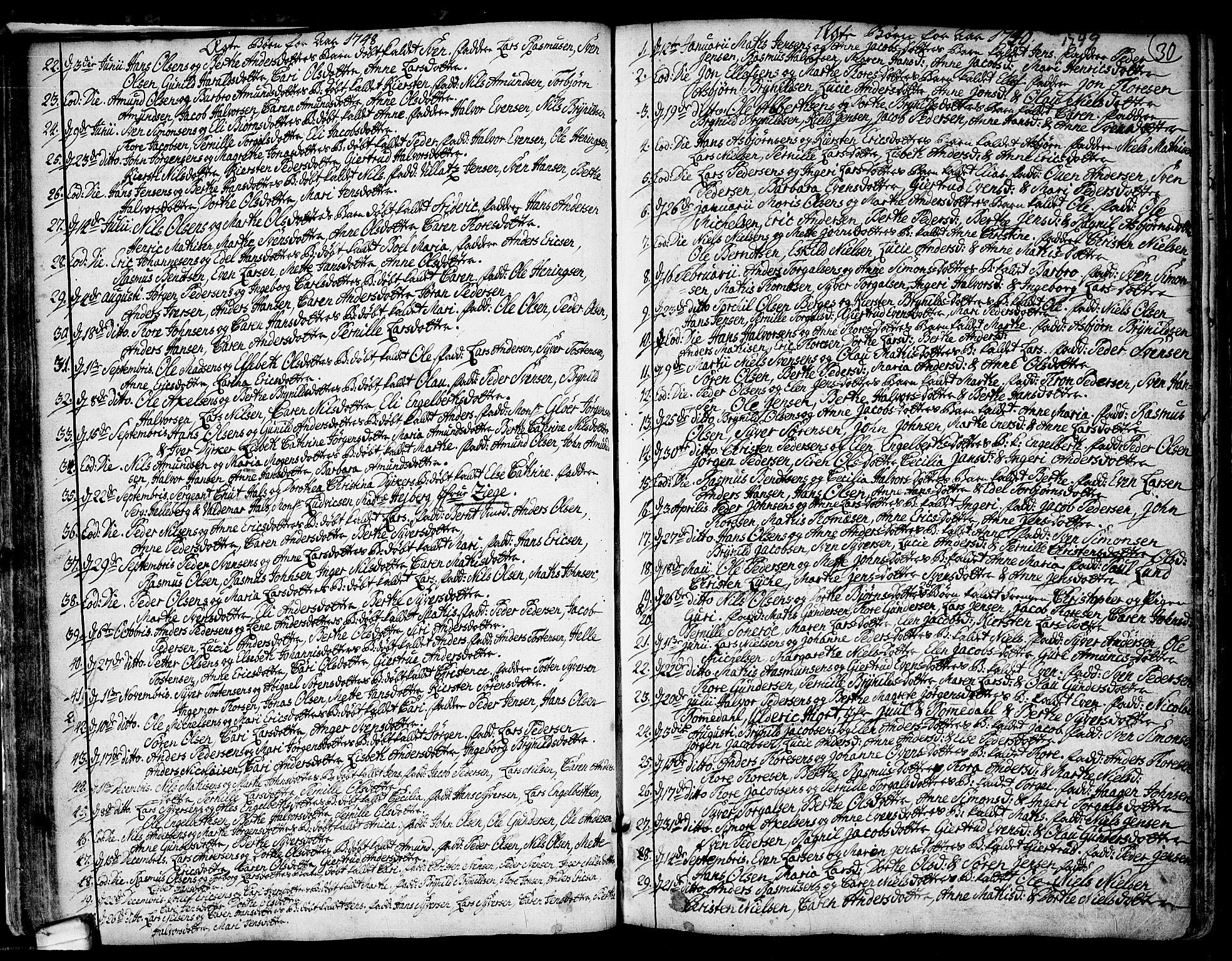 SAO, Idd prestekontor Kirkebøker, F/Fa/L0001: Ministerialbok nr. I 1, 1720-1769, s. 30