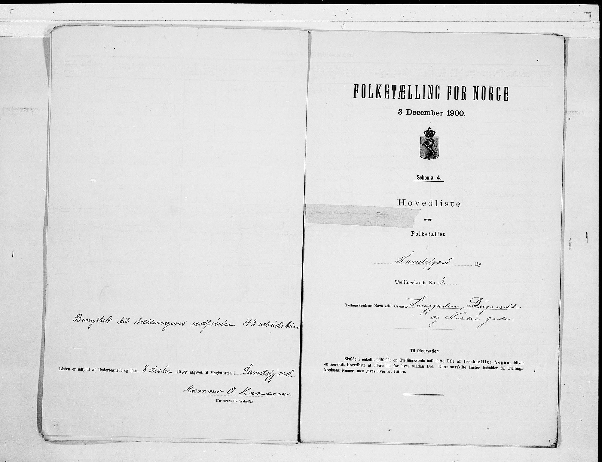 RA, Folketelling 1900 for 0706 Sandefjord kjøpstad, 1900, s. 8