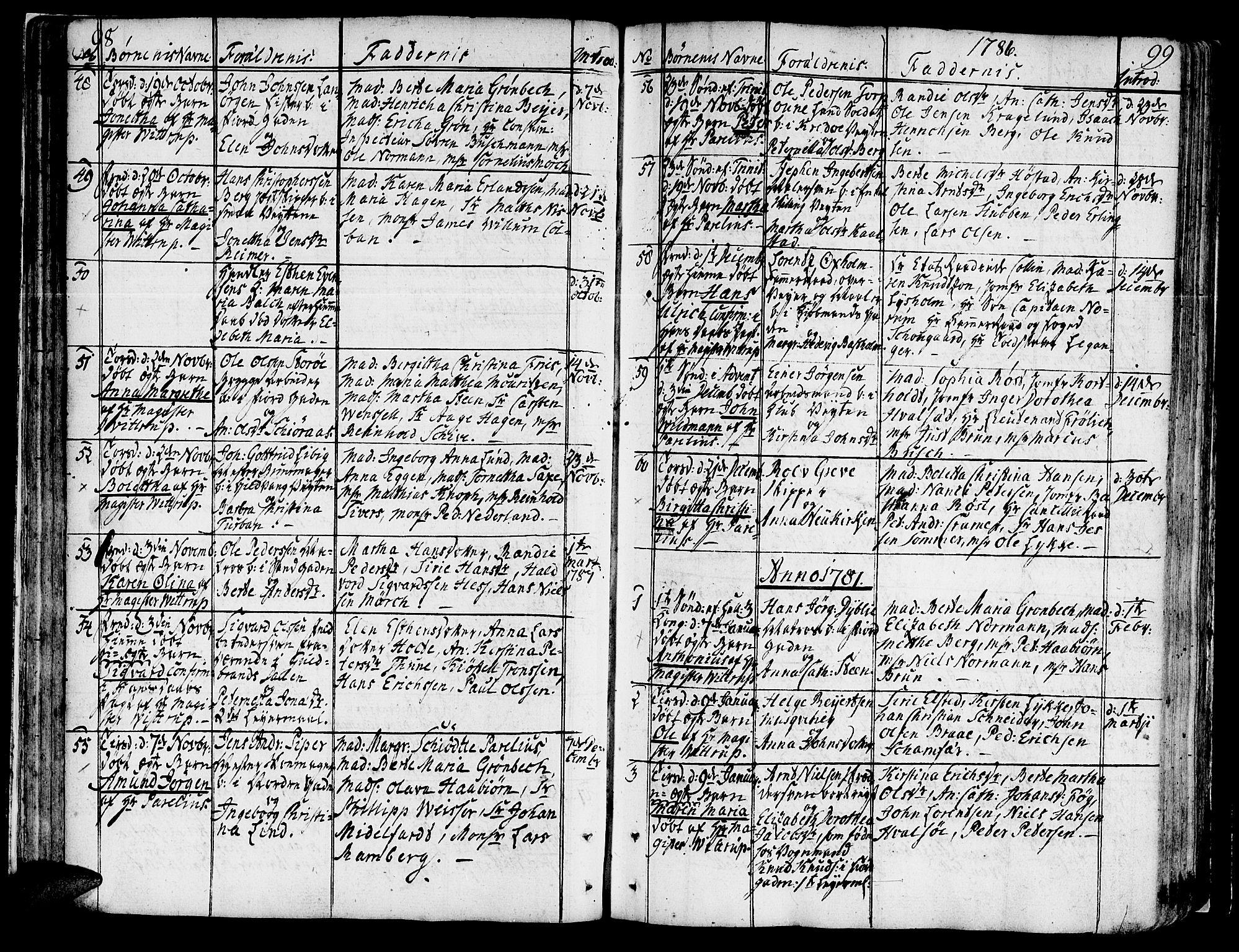 SAT, Ministerialprotokoller, klokkerbøker og fødselsregistre - Sør-Trøndelag, 602/L0104: Ministerialbok nr. 602A02, 1774-1814, s. 98-99