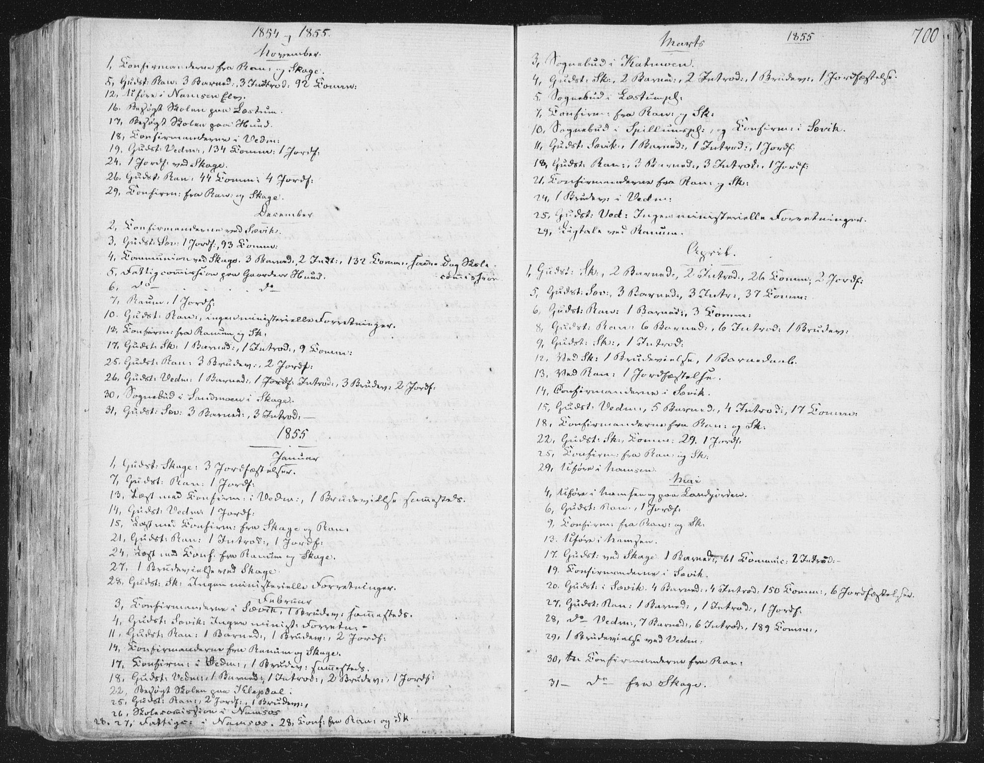 SAT, Ministerialprotokoller, klokkerbøker og fødselsregistre - Nord-Trøndelag, 764/L0552: Ministerialbok nr. 764A07b, 1824-1865, s. 700
