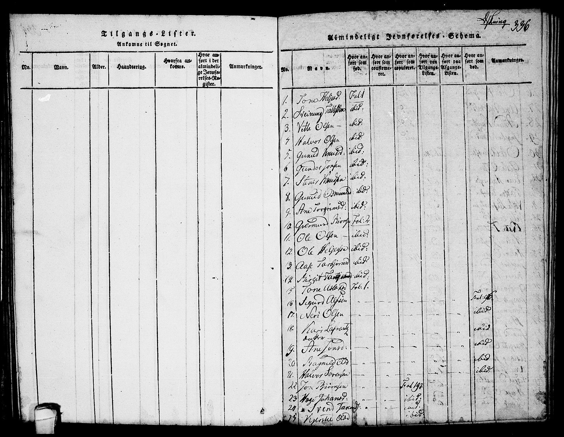 SAKO, Seljord kirkebøker, F/Fc/L0001: Ministerialbok nr. III 1, 1815-1831, s. 336