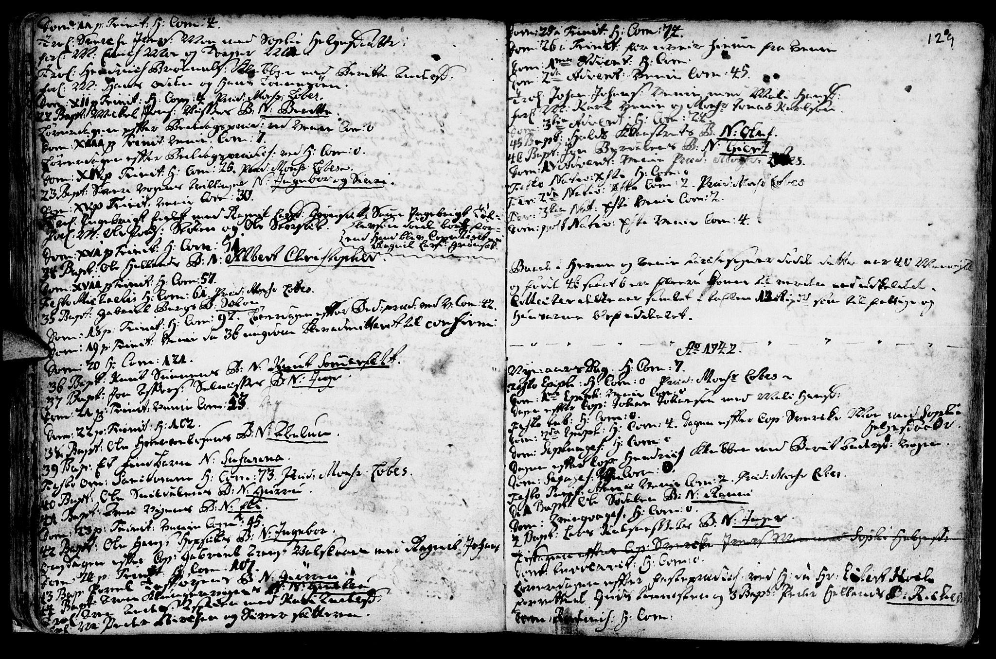 SAT, Ministerialprotokoller, klokkerbøker og fødselsregistre - Sør-Trøndelag, 630/L0488: Ministerialbok nr. 630A01, 1717-1756, s. 128-129