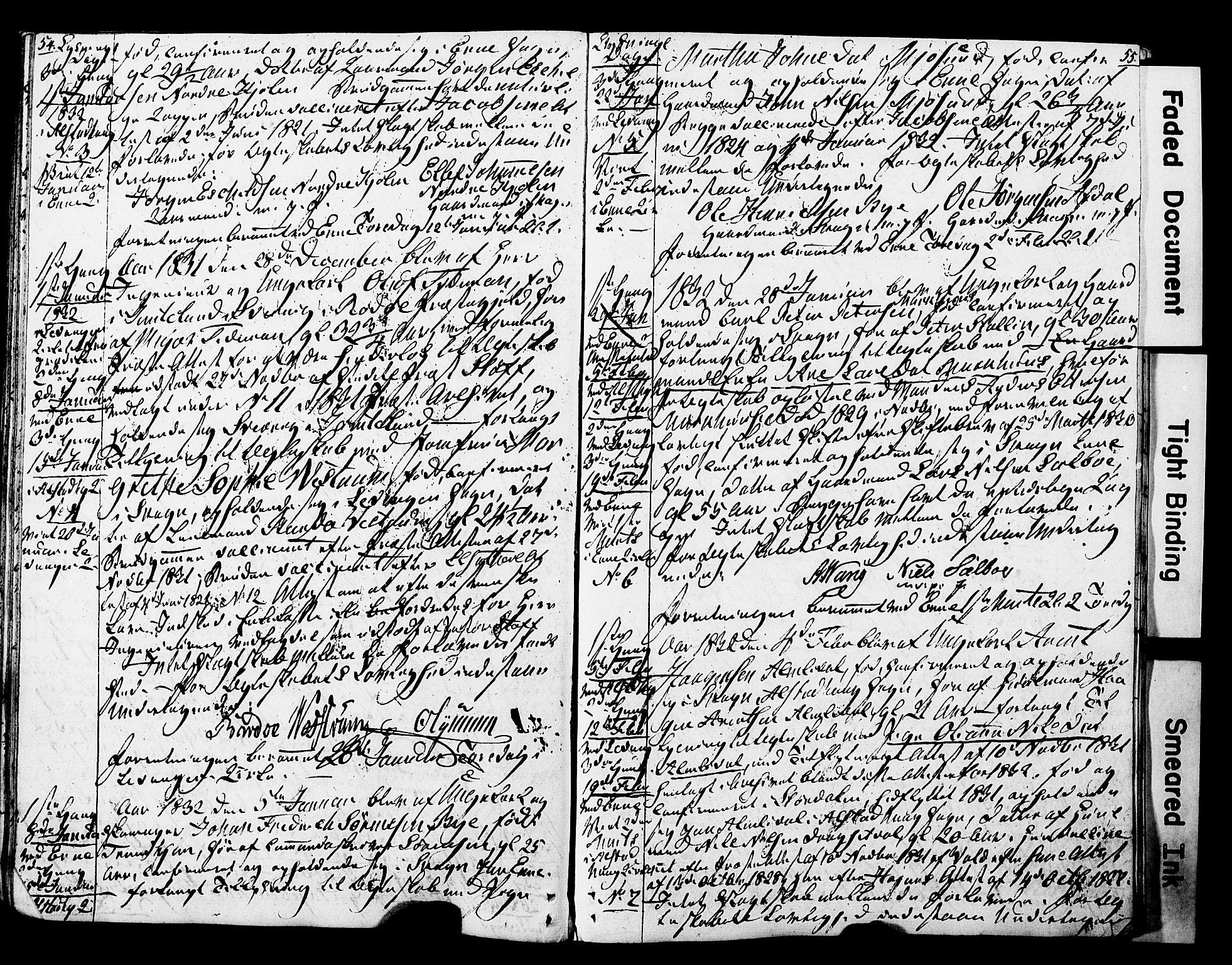 SAT, Ministerialprotokoller, klokkerbøker og fødselsregistre - Nord-Trøndelag, 717/L0160: Forlovererklæringer nr. 717A10, 1828-1850, s. 54-55
