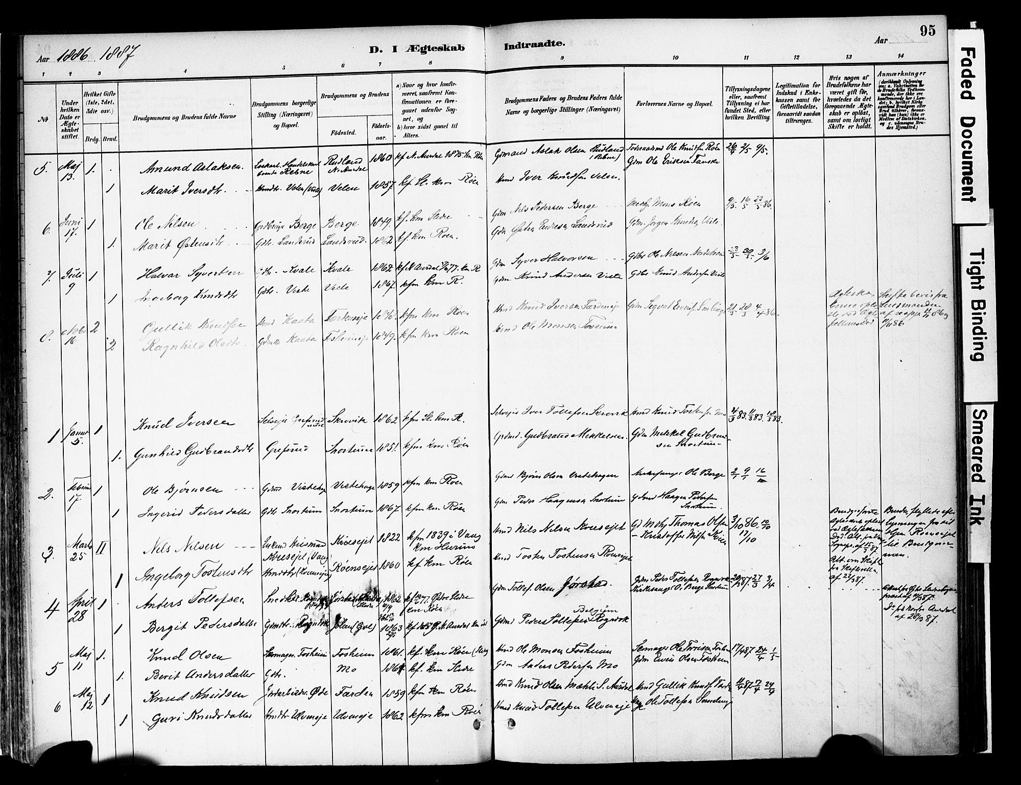 SAH, Vestre Slidre prestekontor, Ministerialbok nr. 6, 1881-1912, s. 95