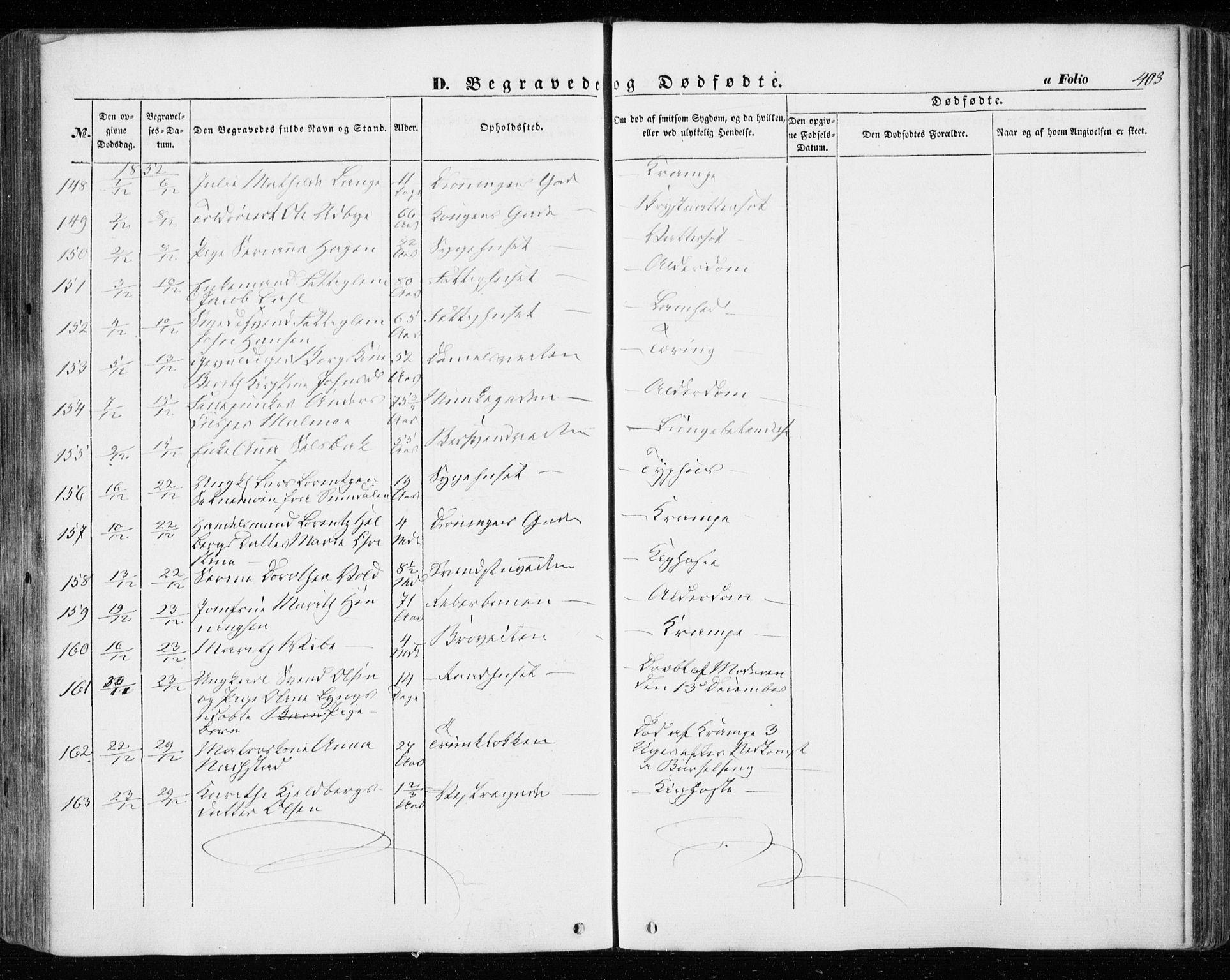 SAT, Ministerialprotokoller, klokkerbøker og fødselsregistre - Sør-Trøndelag, 601/L0051: Ministerialbok nr. 601A19, 1848-1857, s. 403