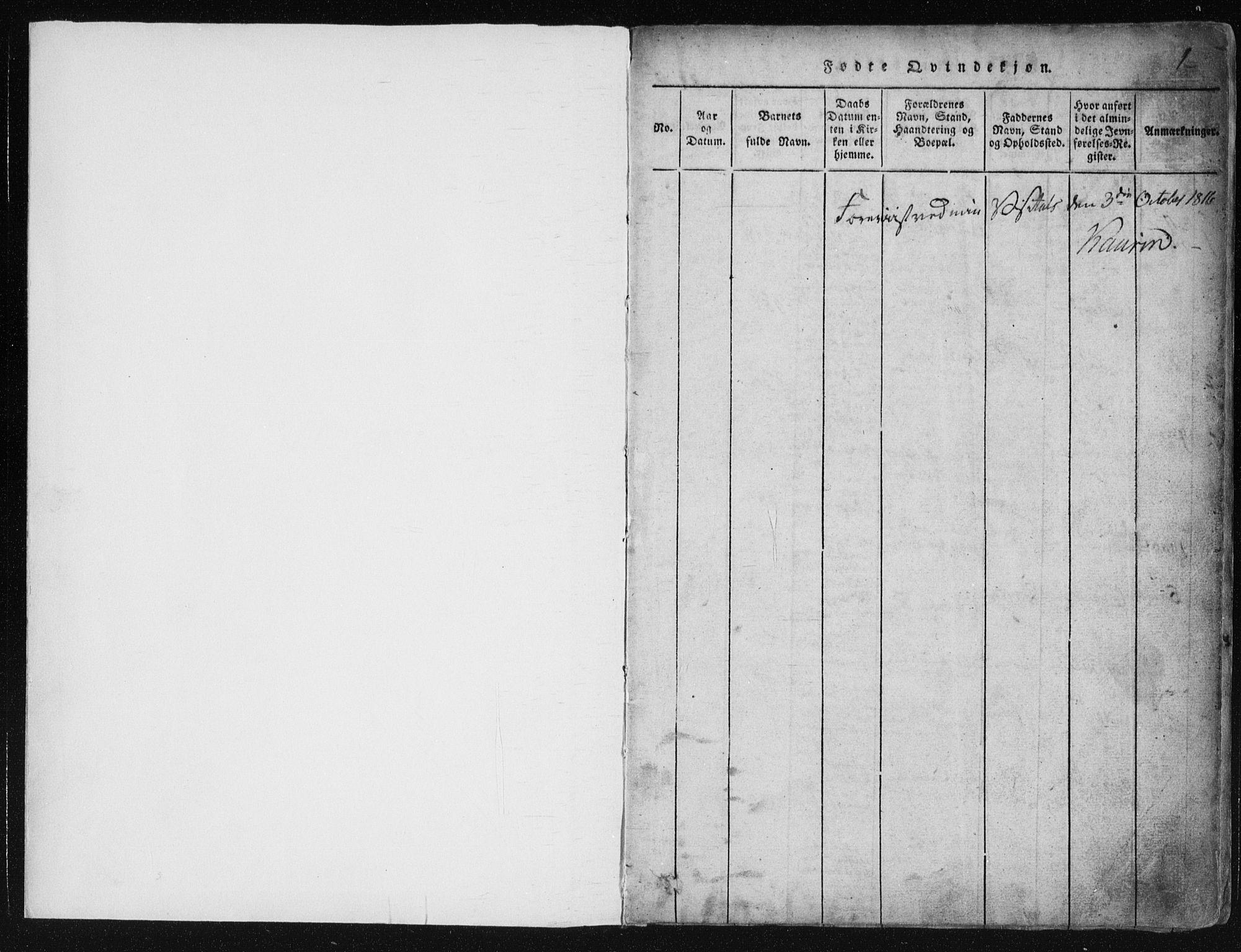 SAKO, Vinje kirkebøker, F/Fa/L0003: Ministerialbok nr. I 3, 1814-1843, s. 1