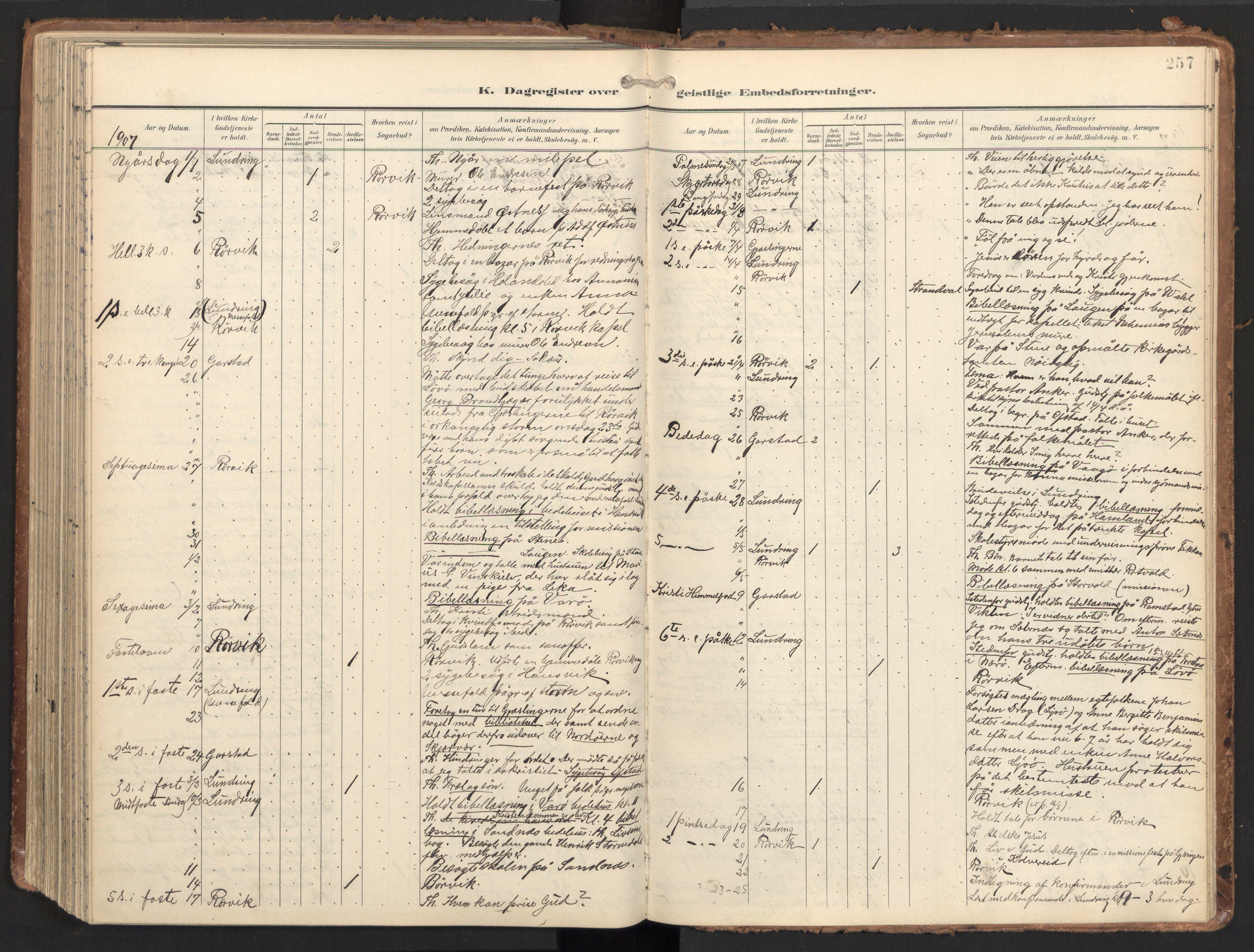 SAT, Ministerialprotokoller, klokkerbøker og fødselsregistre - Nord-Trøndelag, 784/L0677: Ministerialbok nr. 784A12, 1900-1920, s. 257