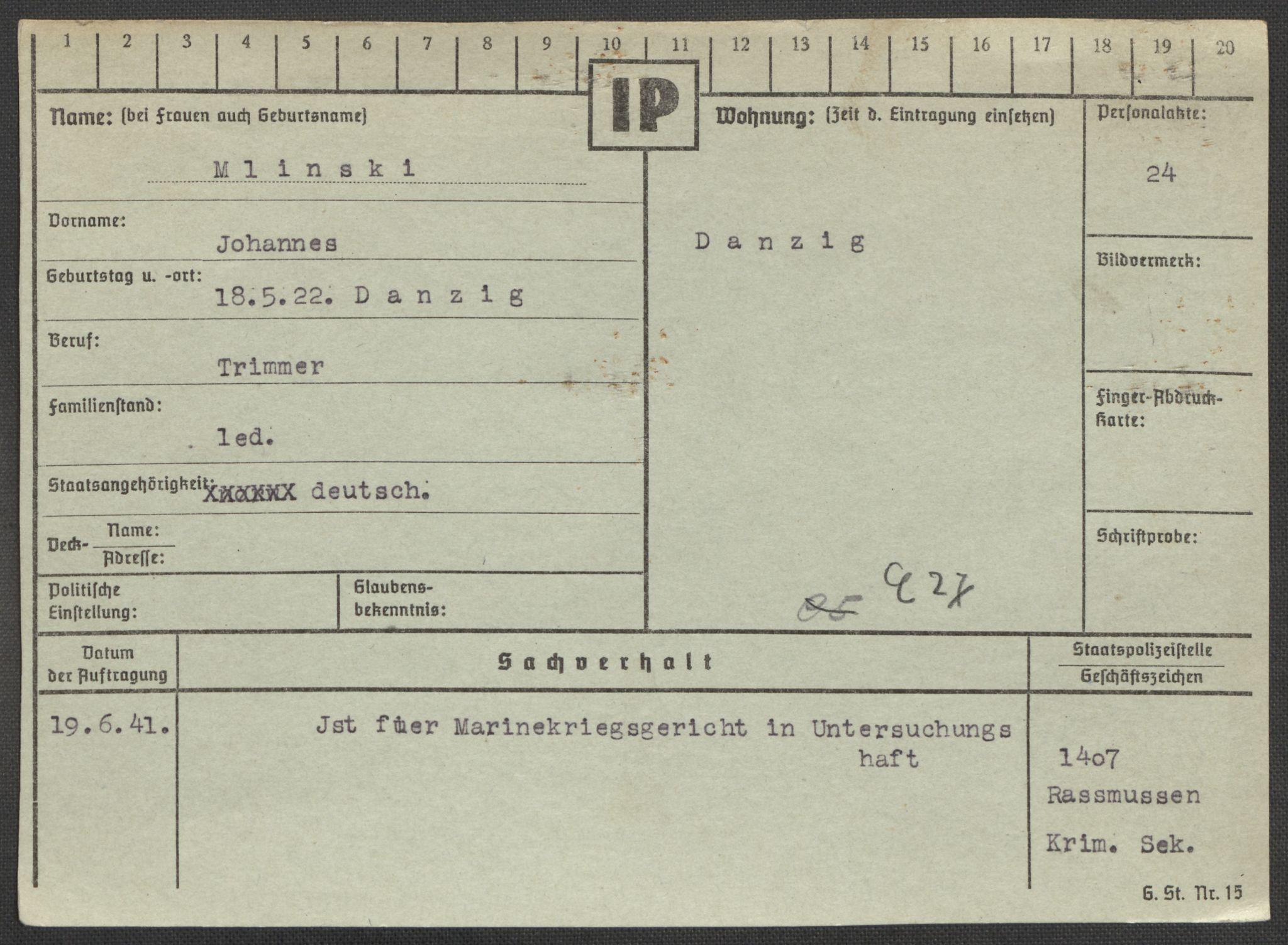 RA, Befehlshaber der Sicherheitspolizei und des SD, E/Ea/Eaa/L0007: Register over norske fanger i Møllergata 19: Lundb-N, 1940-1945, s. 676