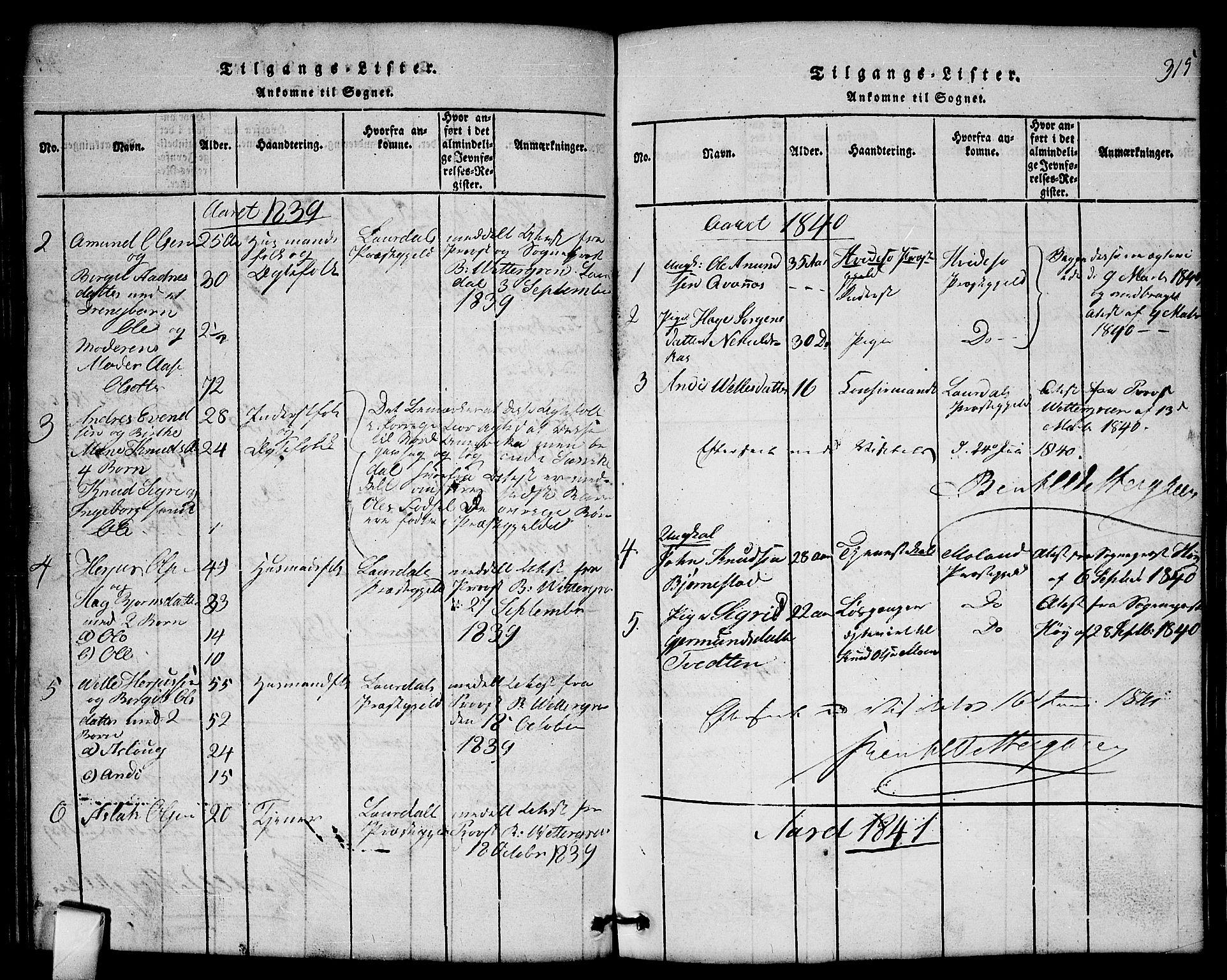 SAKO, Mo kirkebøker, G/Gb/L0001: Klokkerbok nr. II 1, 1814-1843, s. 315