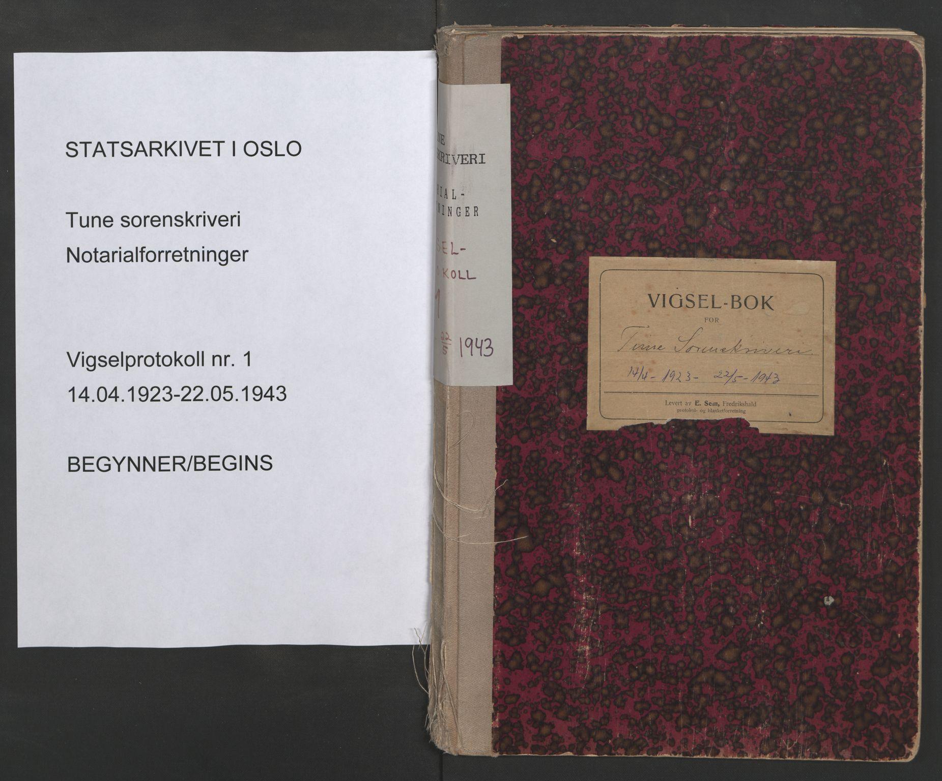SAO, Tune sorenskriveri, L/Lb/L0001: Vigselprotokoll, 1923-1943, s. upaginert