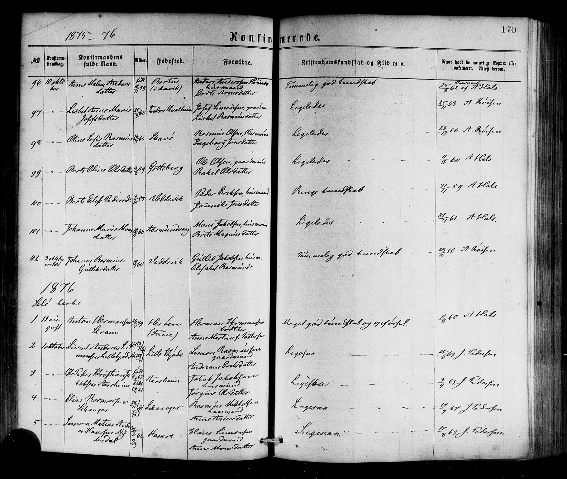 SAB, Selje sokneprestembete*, Ministerialbok nr. A 12, 1870-1880, s. 170