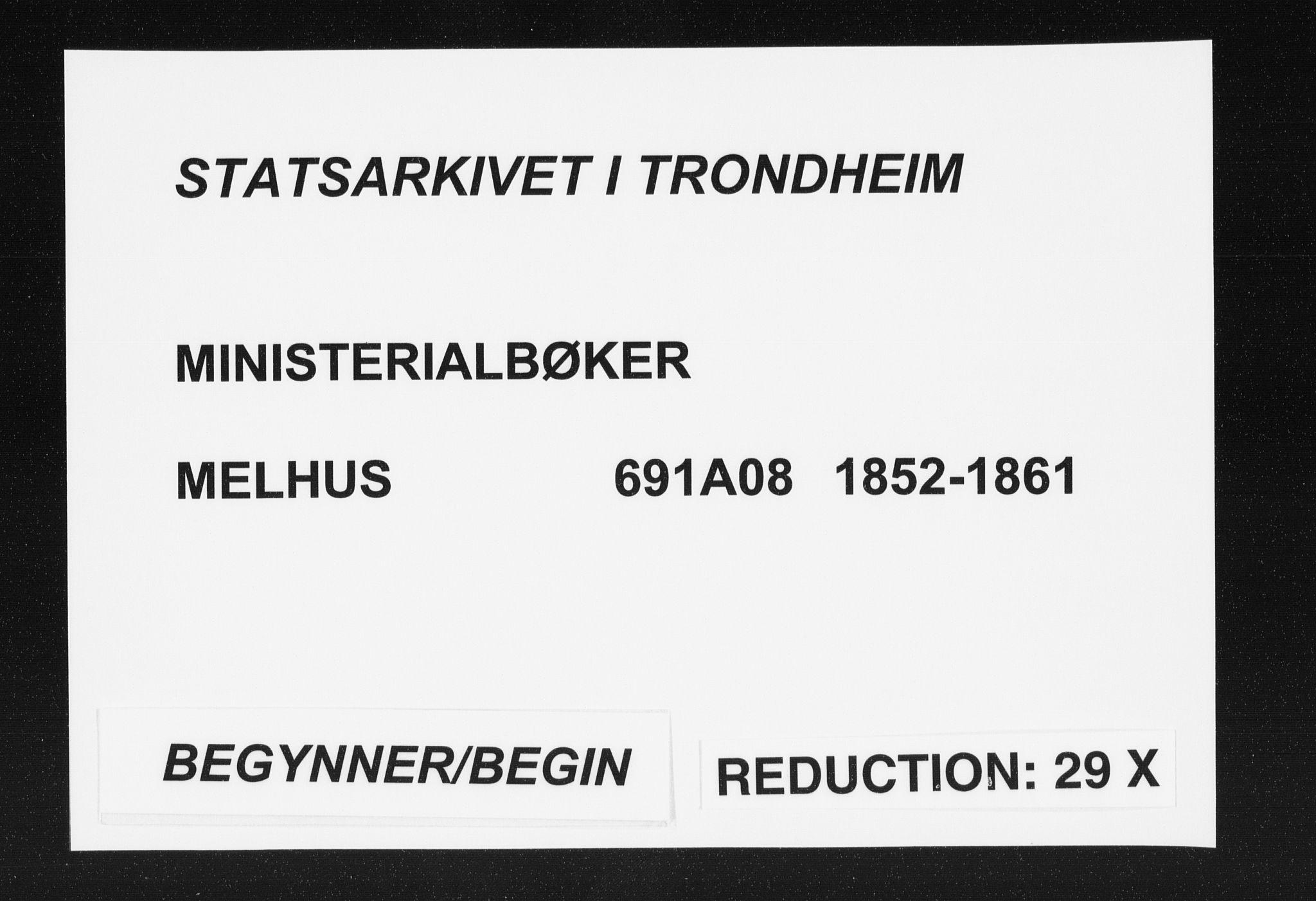 SAT, Ministerialprotokoller, klokkerbøker og fødselsregistre - Sør-Trøndelag, 691/L1076: Ministerialbok nr. 691A08, 1852-1861