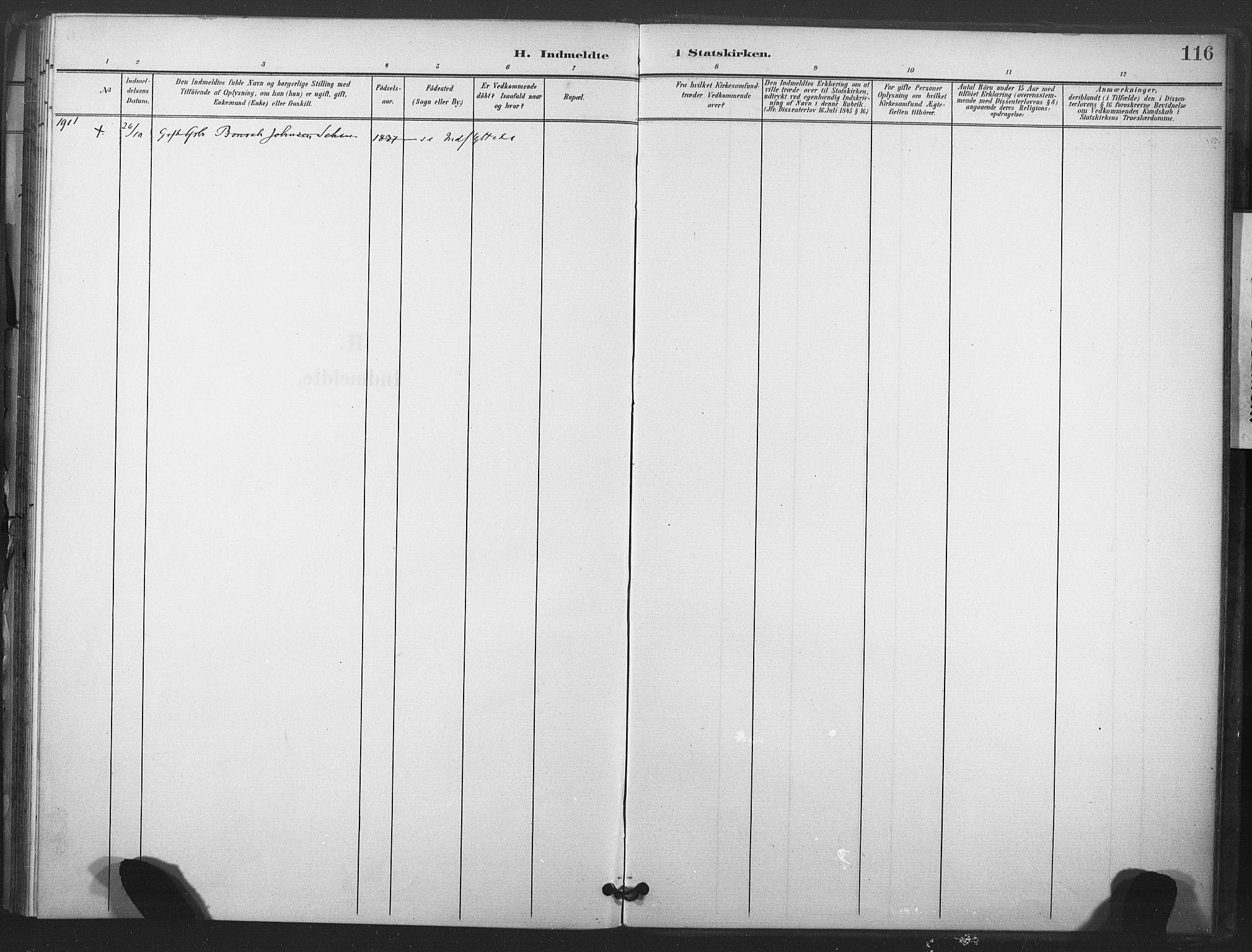 SAT, Ministerialprotokoller, klokkerbøker og fødselsregistre - Nord-Trøndelag, 719/L0179: Ministerialbok nr. 719A02, 1901-1923, s. 116