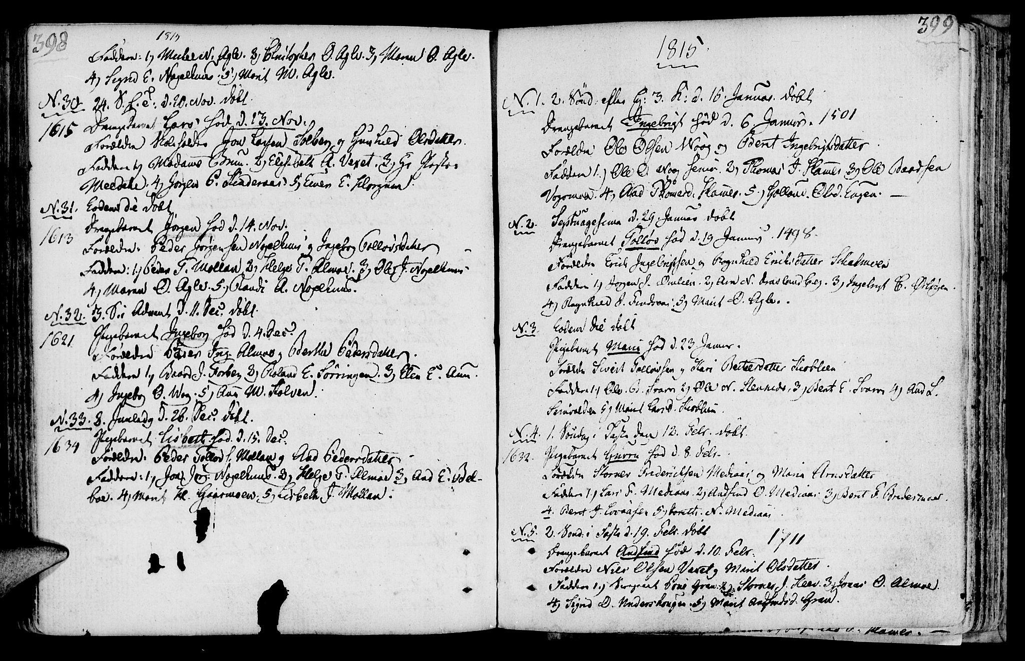 SAT, Ministerialprotokoller, klokkerbøker og fødselsregistre - Nord-Trøndelag, 749/L0468: Ministerialbok nr. 749A02, 1787-1817, s. 398-399