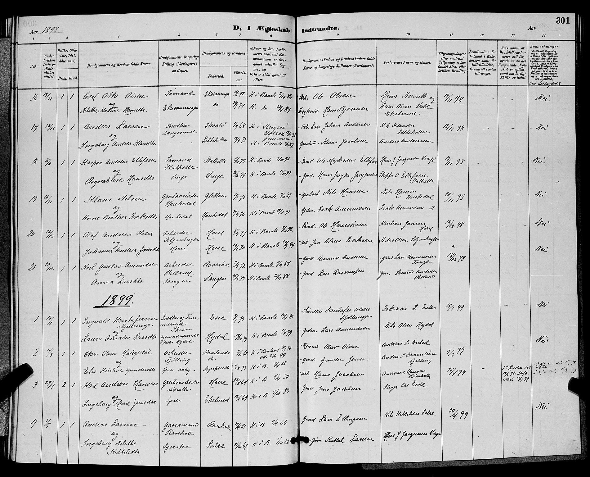 SAKO, Bamble kirkebøker, G/Ga/L0009: Klokkerbok nr. I 9, 1888-1900, s. 301