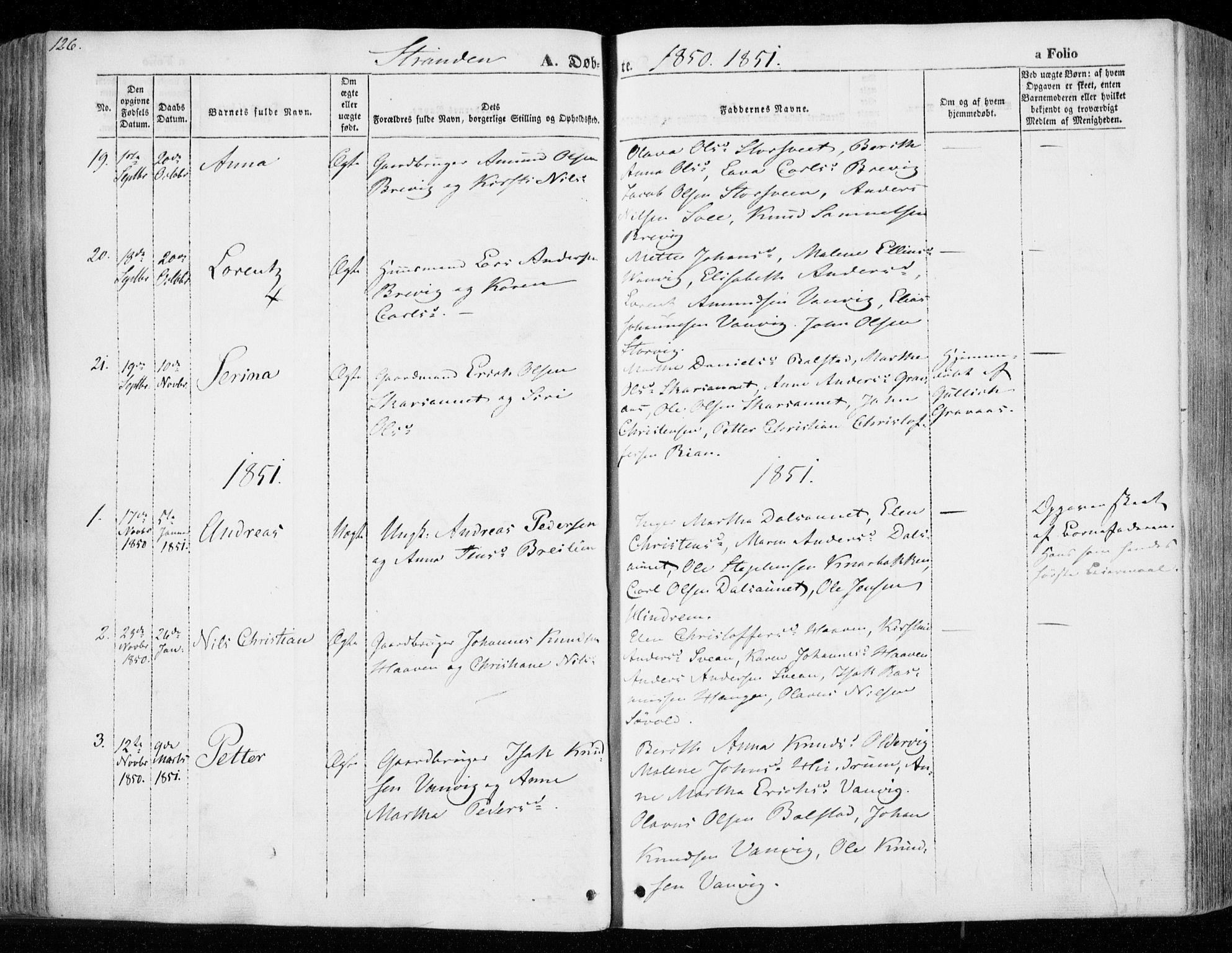 SAT, Ministerialprotokoller, klokkerbøker og fødselsregistre - Nord-Trøndelag, 701/L0007: Ministerialbok nr. 701A07 /2, 1842-1854, s. 126
