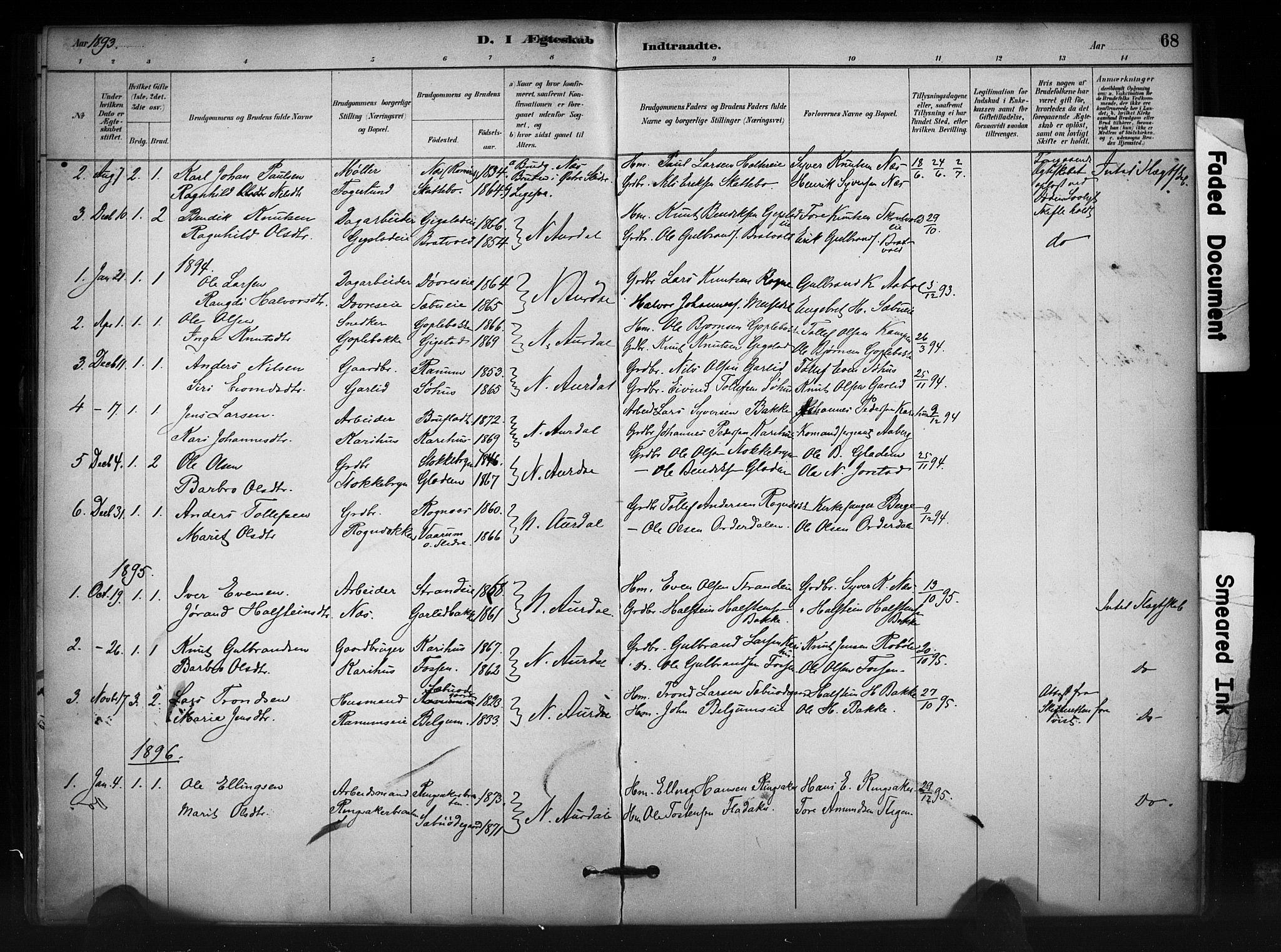 SAH, Nord-Aurdal prestekontor, Ministerialbok nr. 12, 1883-1895, s. 68