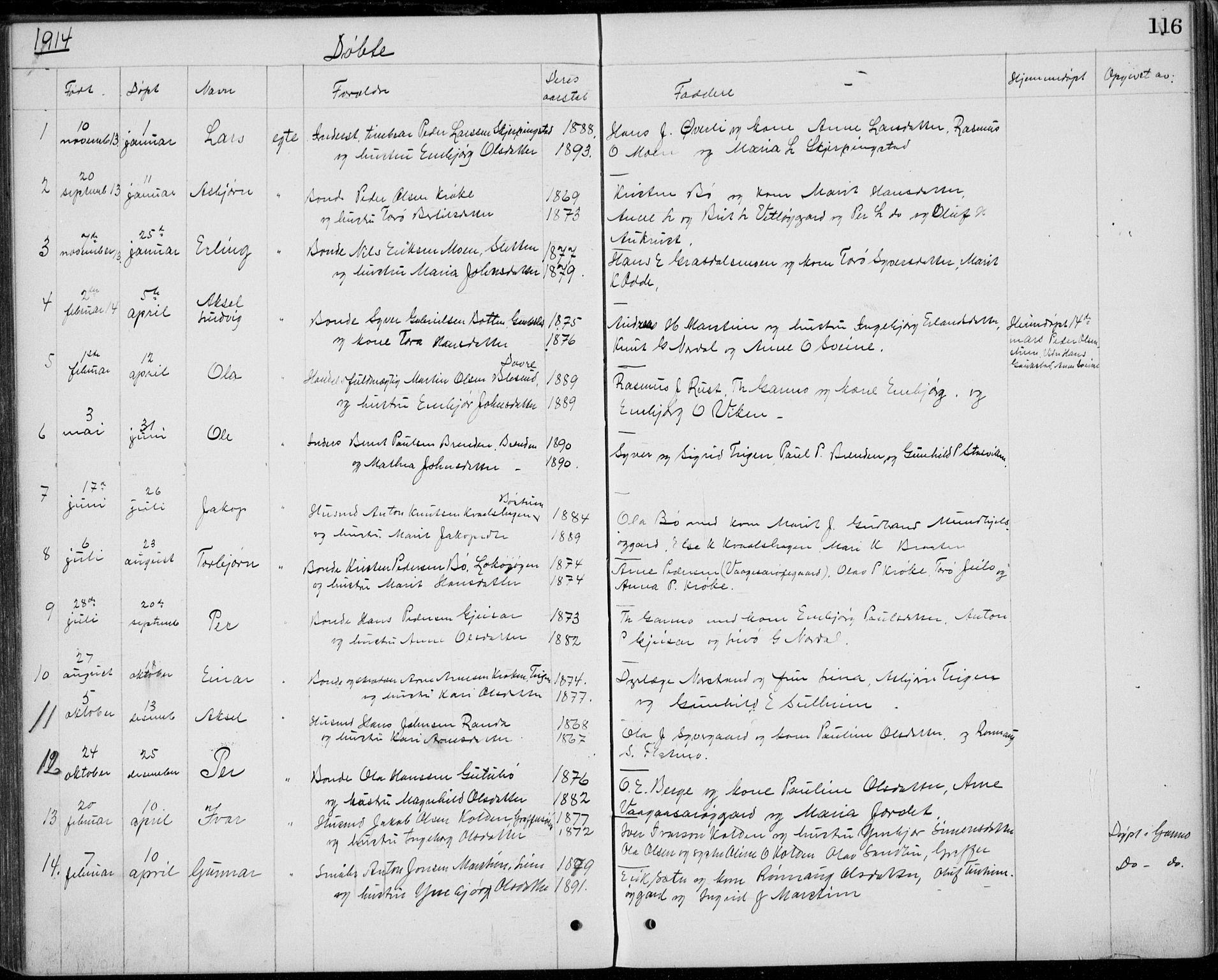 SAH, Lom prestekontor, L/L0013: Klokkerbok nr. 13, 1874-1938, s. 116