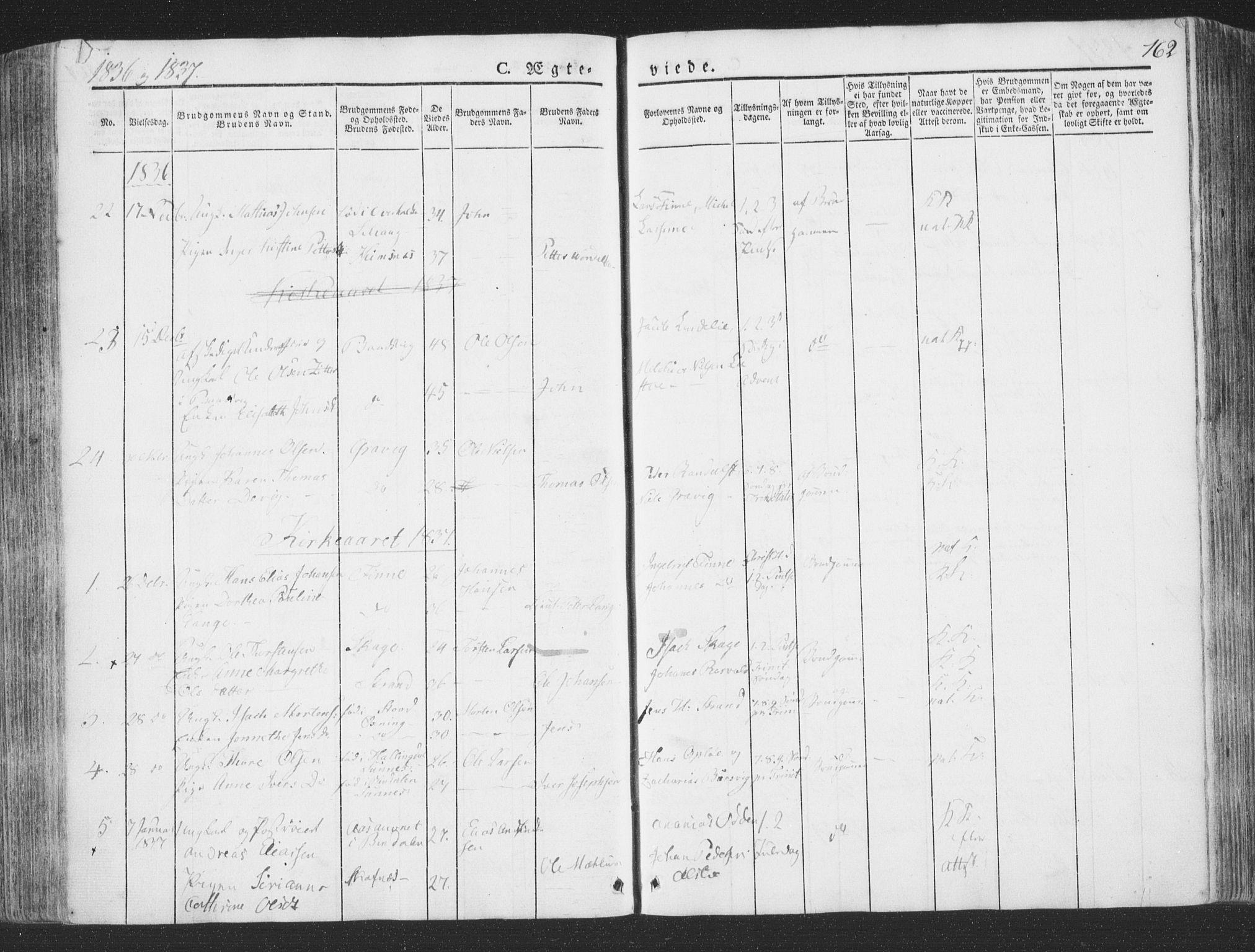 SAT, Ministerialprotokoller, klokkerbøker og fødselsregistre - Nord-Trøndelag, 780/L0639: Ministerialbok nr. 780A04, 1830-1844, s. 162