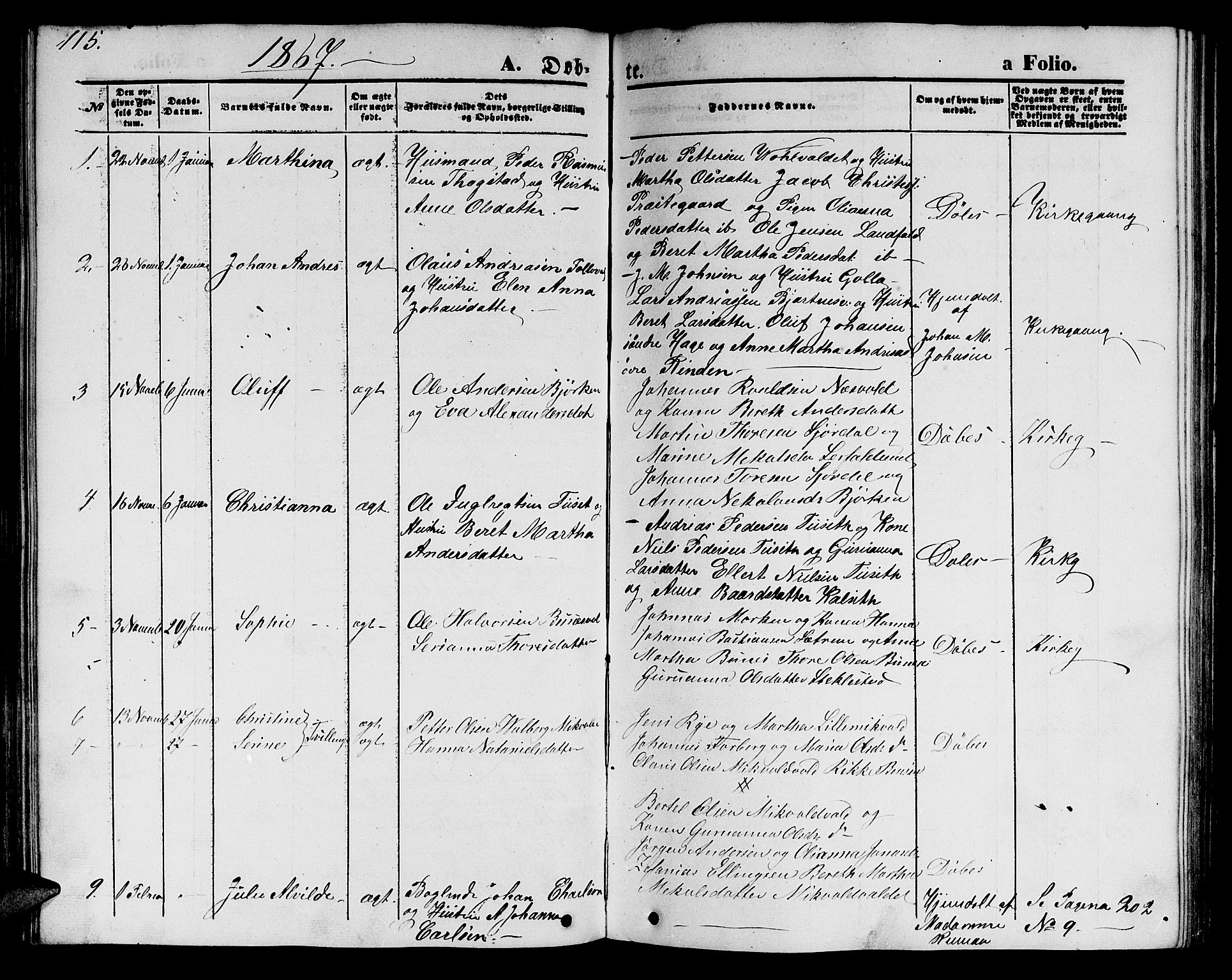 SAT, Ministerialprotokoller, klokkerbøker og fødselsregistre - Nord-Trøndelag, 723/L0254: Klokkerbok nr. 723C02, 1858-1868, s. 115