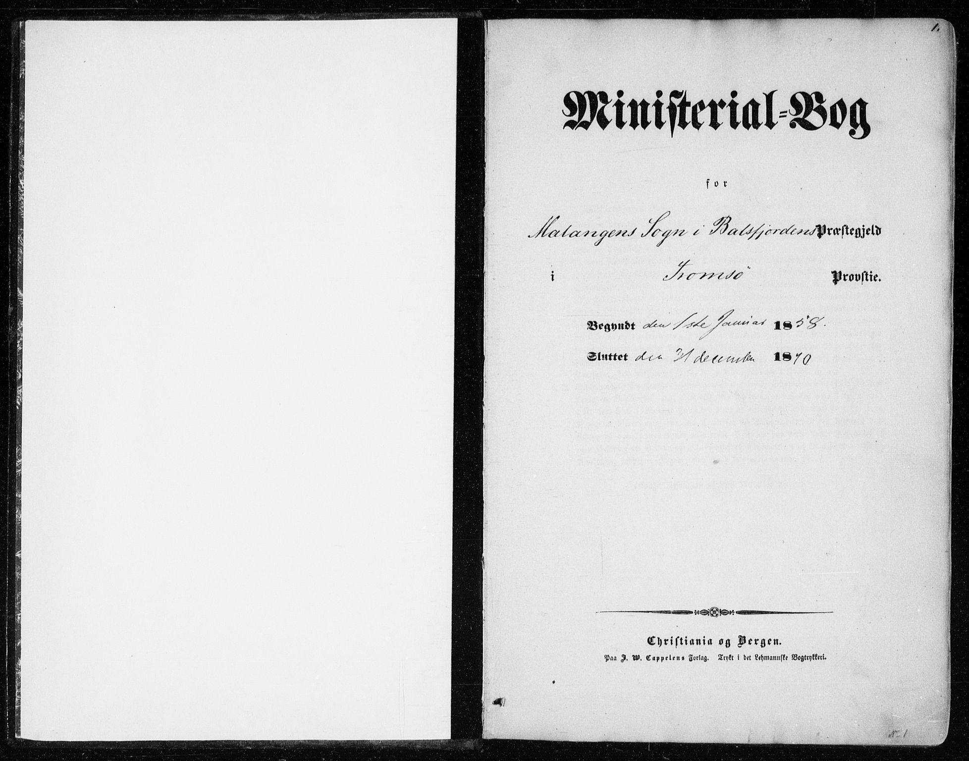SATØ, Balsfjord sokneprestembete, Ministerialbok nr. 1, 1858-1870, s. 1