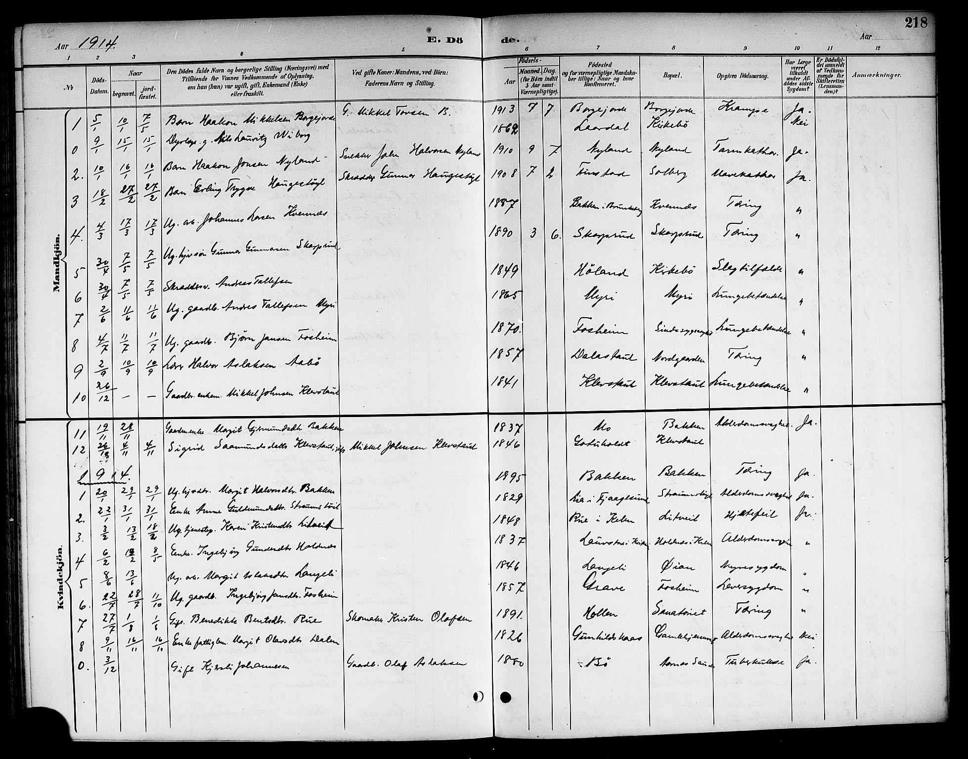 SAKO, Kviteseid kirkebøker, G/Ga/L0002: Klokkerbok nr. I 2, 1893-1918, s. 218
