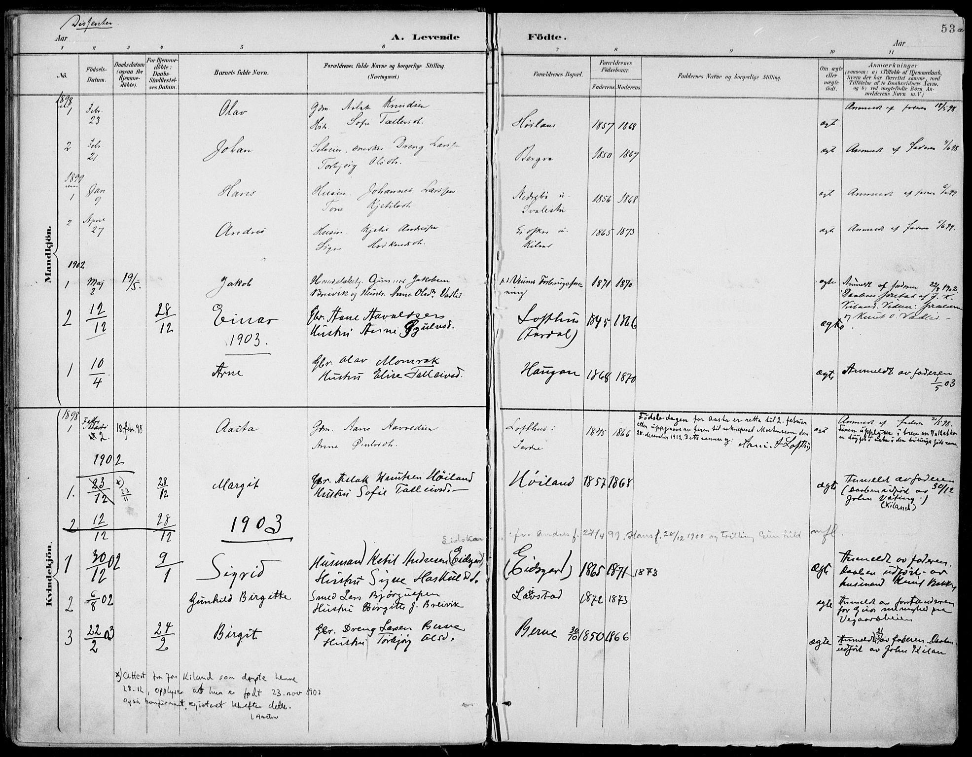 SAKO, Fyresdal kirkebøker, F/Fa/L0007: Ministerialbok nr. I 7, 1887-1914, s. 53