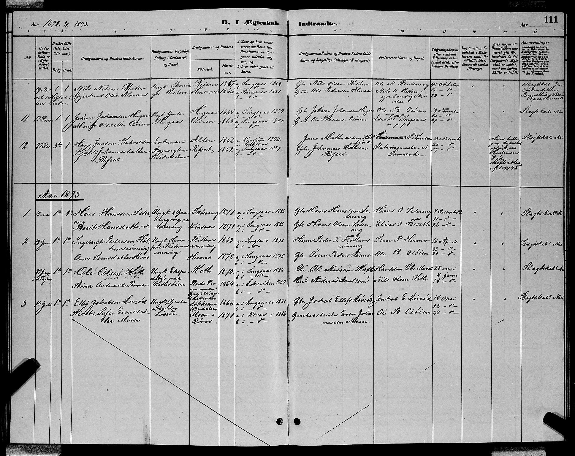 SAT, Ministerialprotokoller, klokkerbøker og fødselsregistre - Sør-Trøndelag, 688/L1028: Klokkerbok nr. 688C03, 1889-1899, s. 111