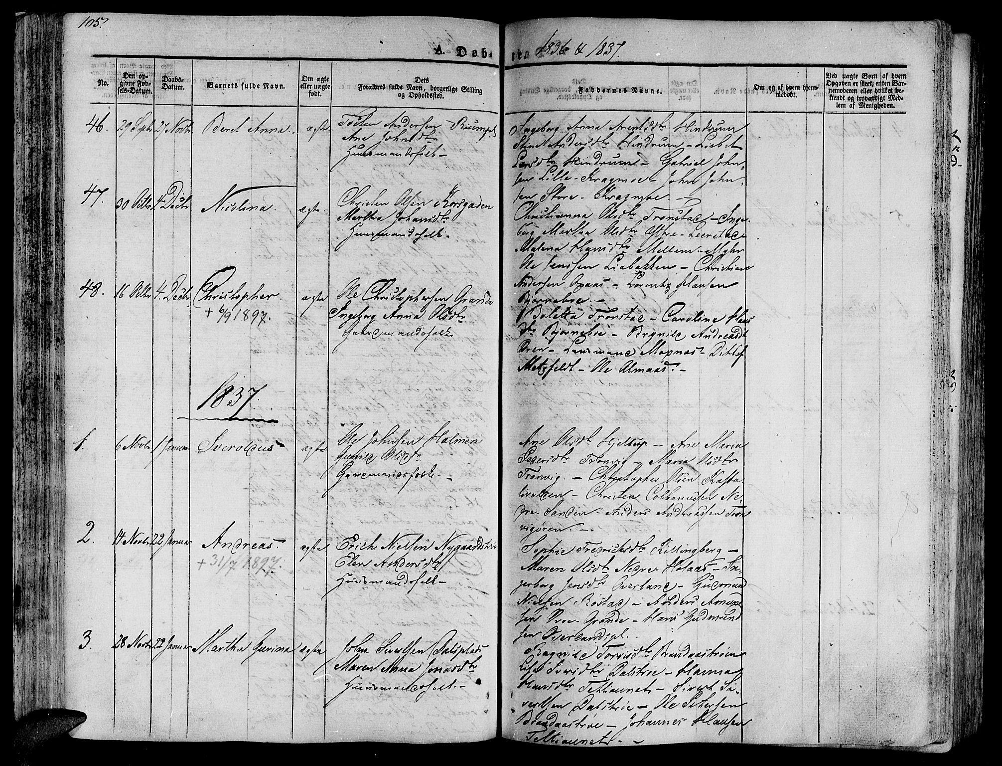 SAT, Ministerialprotokoller, klokkerbøker og fødselsregistre - Nord-Trøndelag, 701/L0006: Ministerialbok nr. 701A06, 1825-1841, s. 105