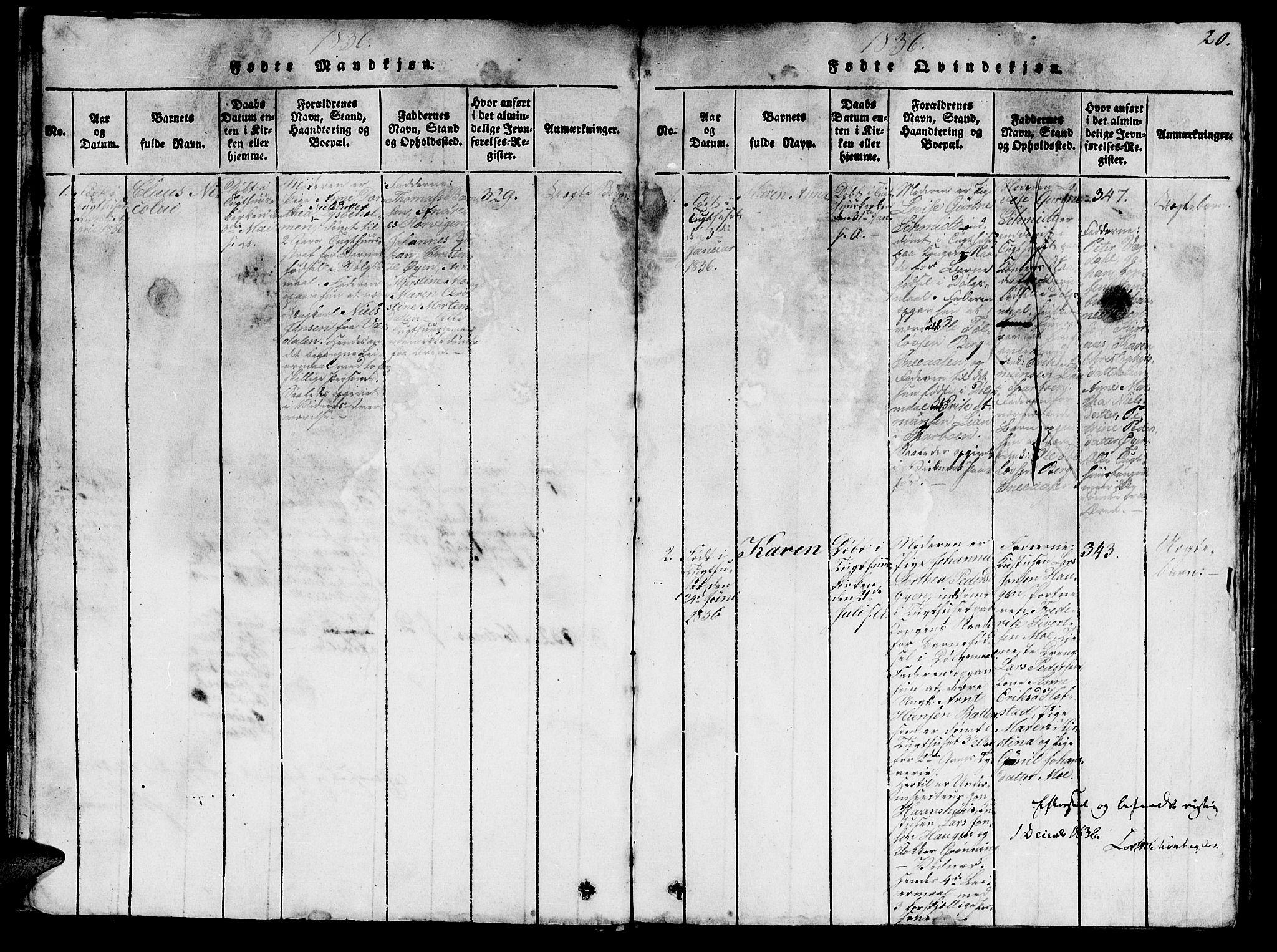 SAT, Ministerialprotokoller, klokkerbøker og fødselsregistre - Sør-Trøndelag, 623/L0478: Klokkerbok nr. 623C01, 1815-1873, s. 20